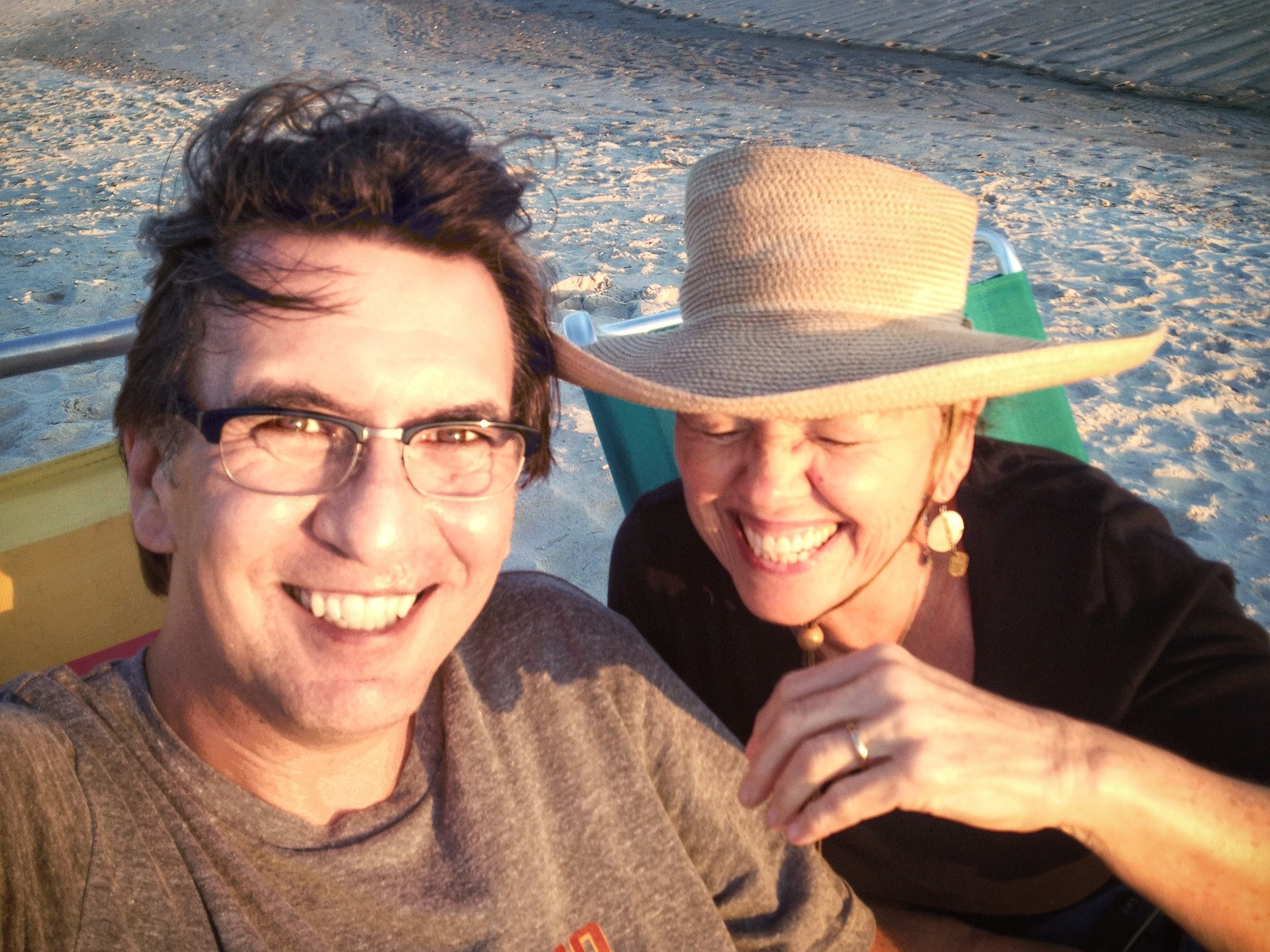 With Kitty, the love of my life, in 2013 on Oak Island, NC.