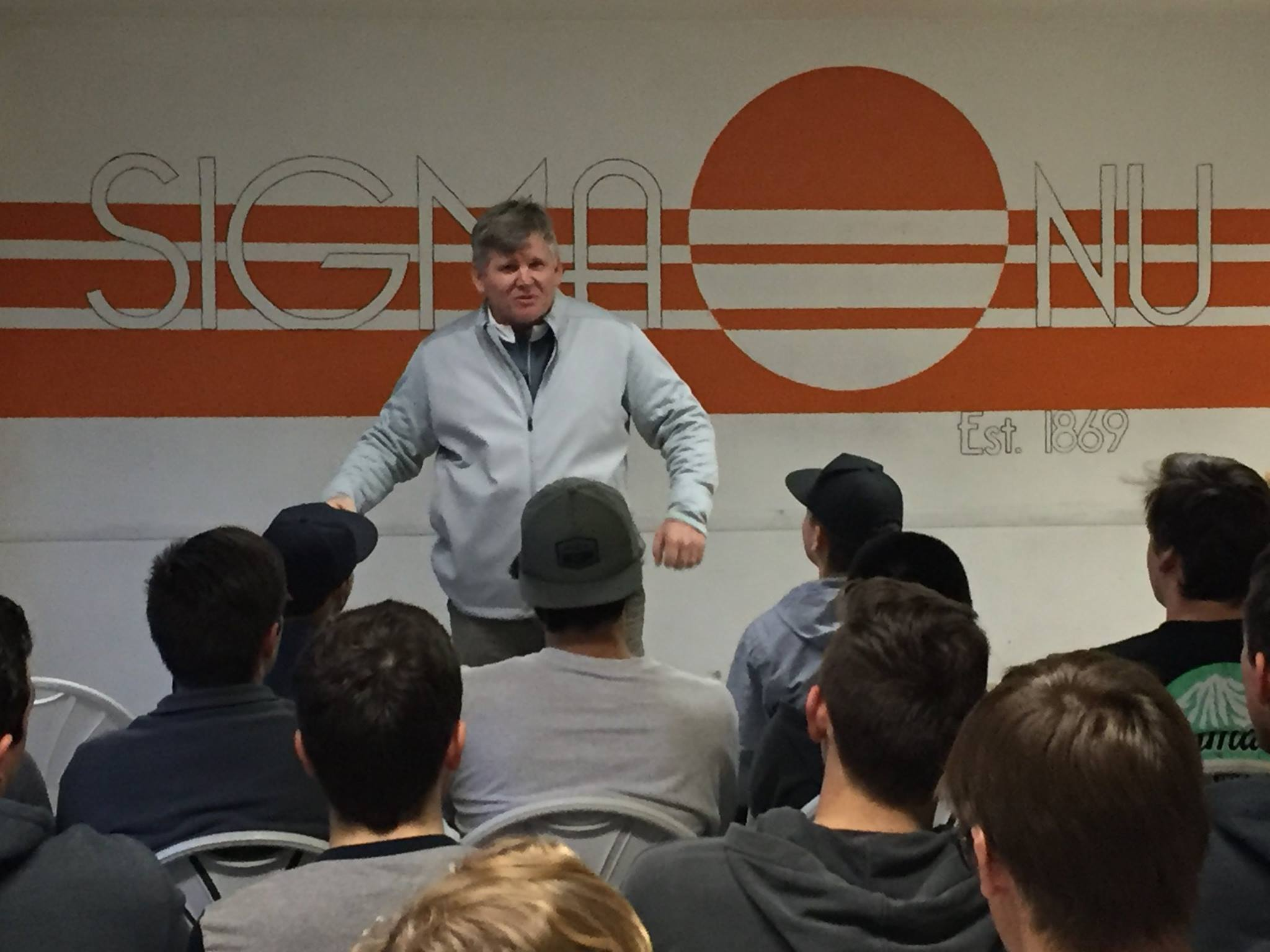 The Sigma Nu Fraternity would like to give a large thank you to UC Davis Football head coach, Dan Hawkins, for speaking to us about ethics today! He's an Aggie Alumnus with a lot to offer not just to the football program but to the entire school as well! His talk with us was stimulating, motivational, and enlightening. Thanks again Coach for your time and words of wisdom.