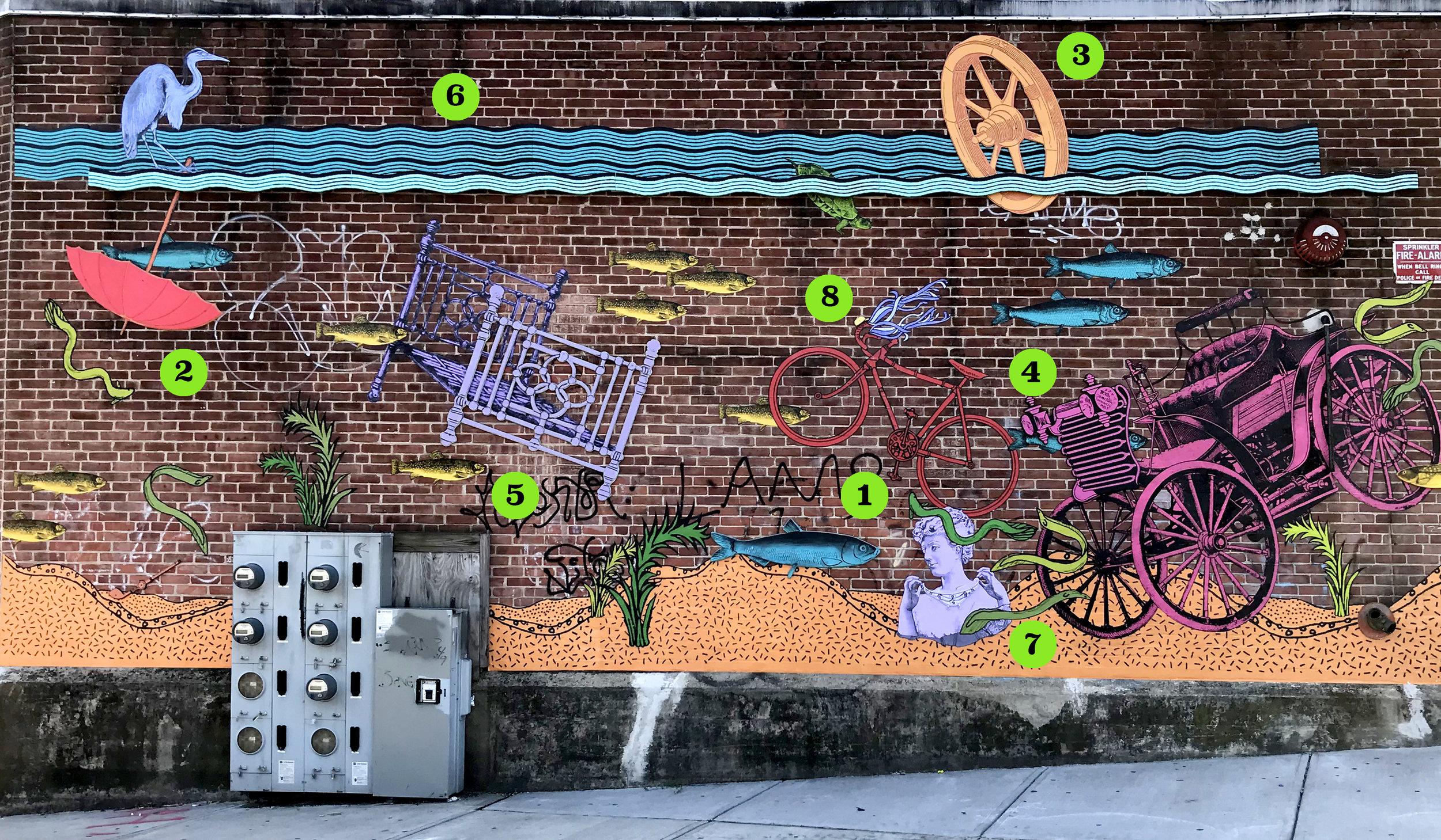 Mural ubicada en el carril para bicicletas de Woonasquatucket River Greenway en la intersección de San Souci y avenida Manton en Providence, RI