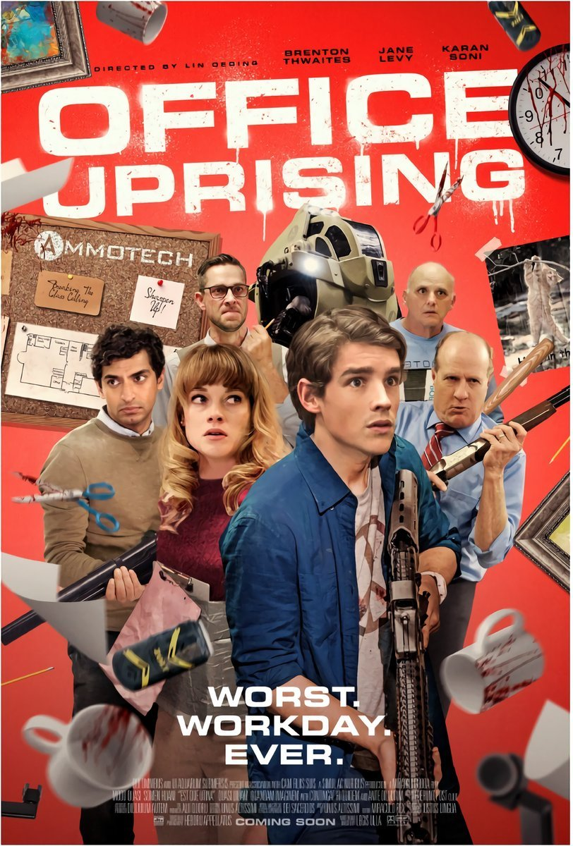 Office Uprising - Office Uprising is an upcoming American zombie comedy thriller film directed by Lin Oeding and written by Peter Gamble Robinson and Ian Shorr. The film stars Brenton Thwaites, Jane Levy, Alan Ritchson, Zachary Levi, and Ian Harding.Morgan is very funny playing, the no nonsense, Melanie Moon in the HR department.Click here for IMDb LinkClick here for Variety Article