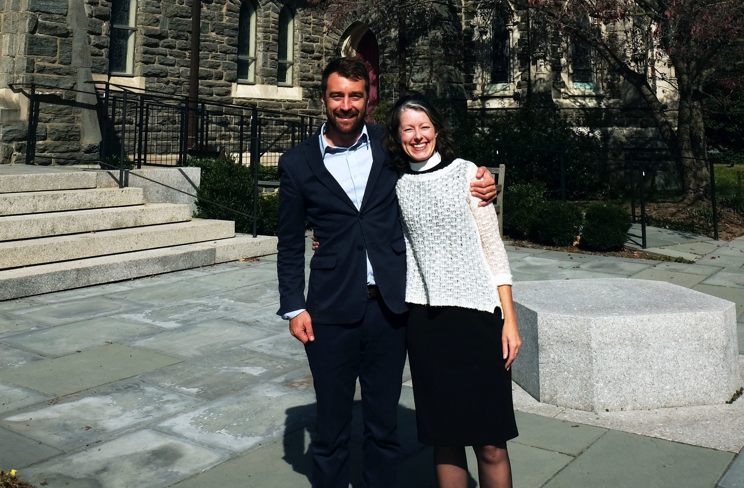 Anne Thatcher (pictured here with Cristosal Executive Director Noah Bullock) weaves Cristosal's mission into her vocation as an Episcopal priest in Philadelphia, Pennsylvania.