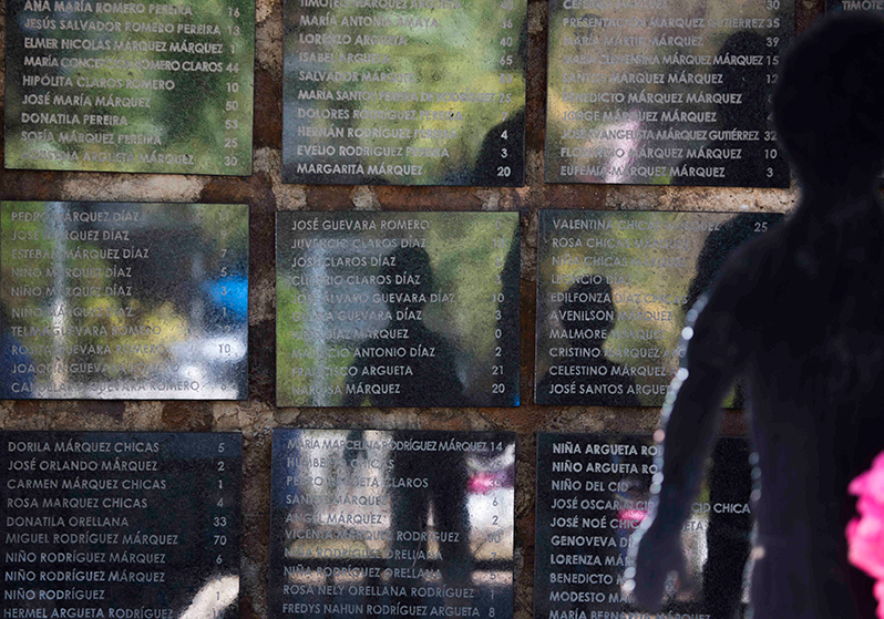 Victims of the 1981 El Mozote massacre listed by name and age on the memorial. / Photo Cristosal
