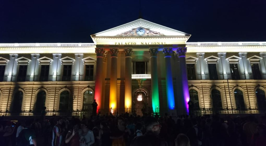 The Palacio Nacional in El Salvador lit up for Pride Week.