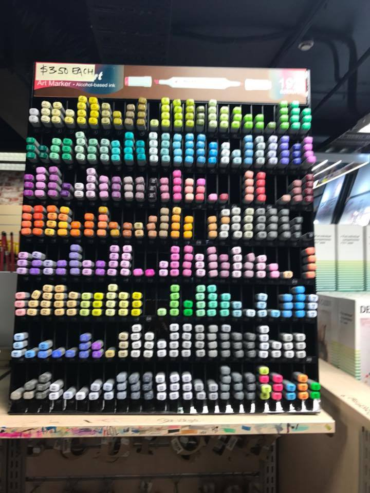 An amazing array of felt tip pens for colouring in.