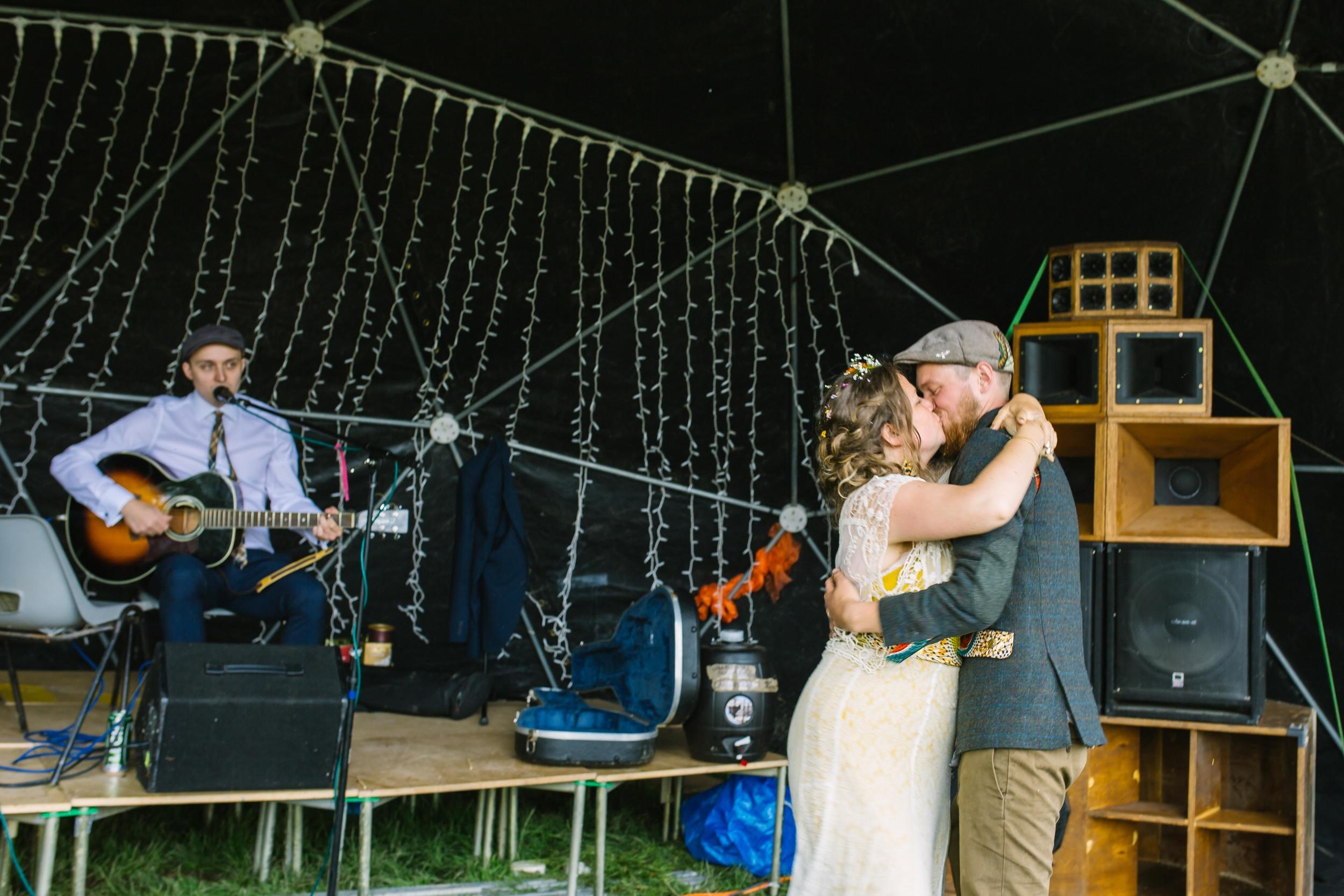 Festival wedding Farmer Phil's Shropshire Olivia Moon Photography