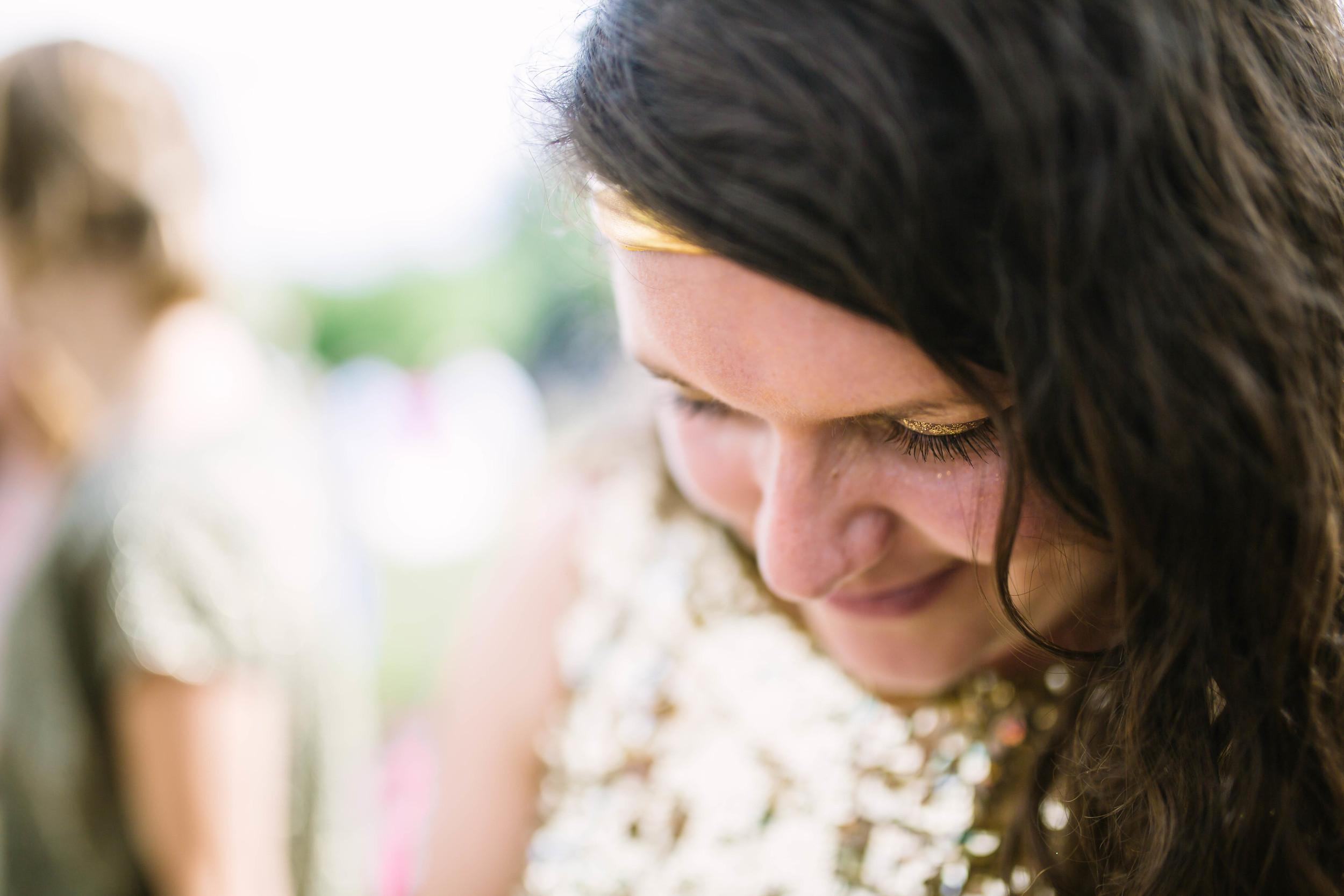 Gold glitter bridesmaid, UK festival wedding photography by Olivia Moon Photography