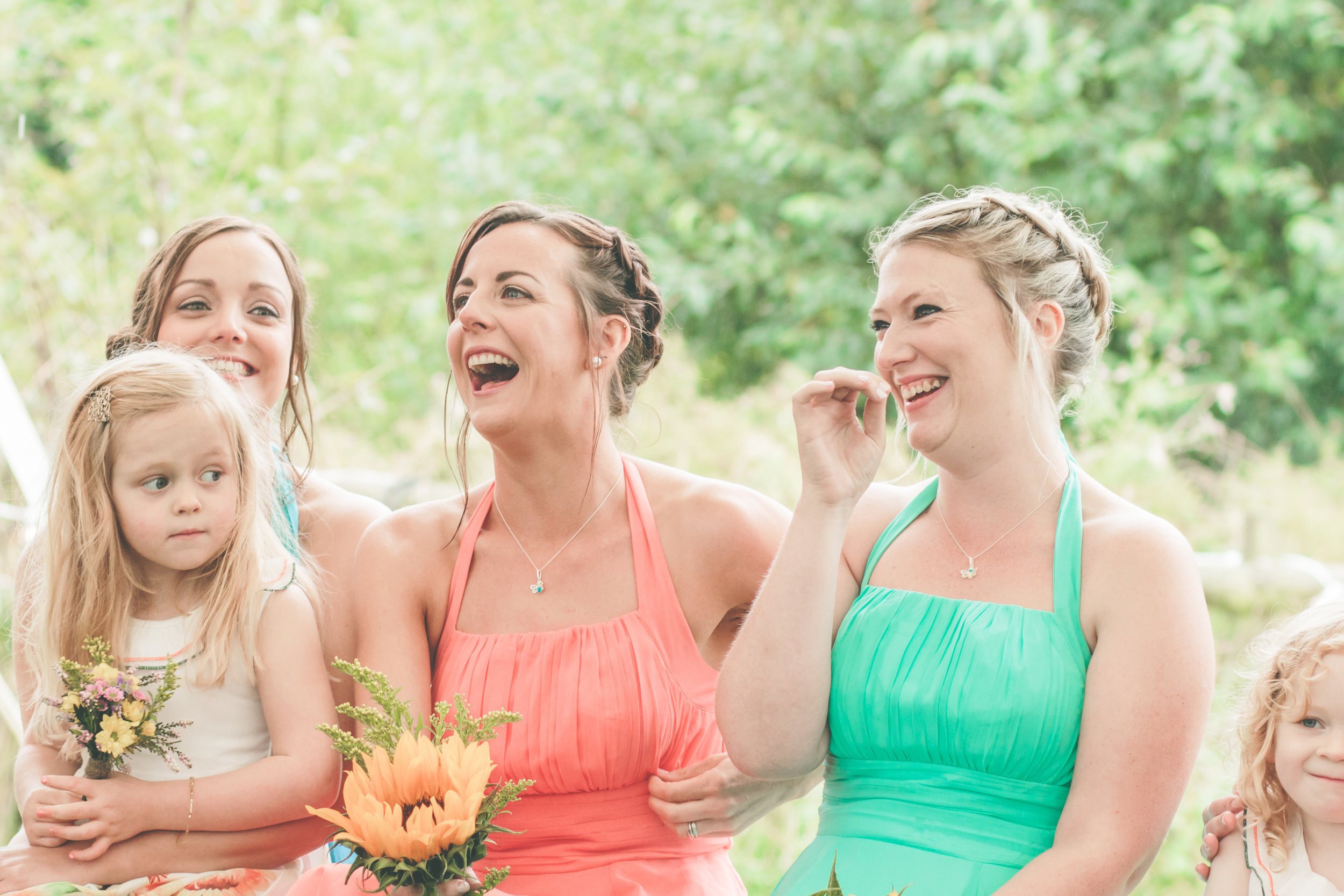 Sharing a laugh, alternative wedding