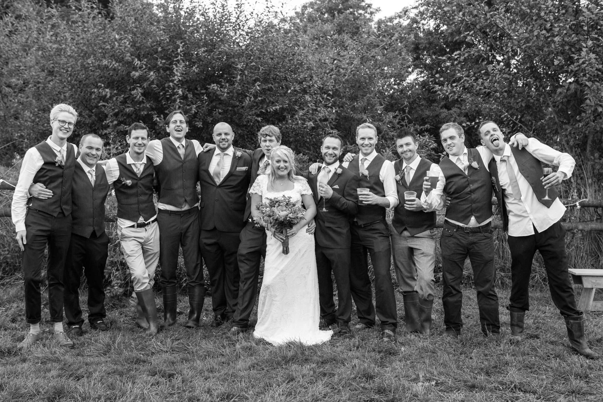 Relaxed group shot, UK wedding photographer