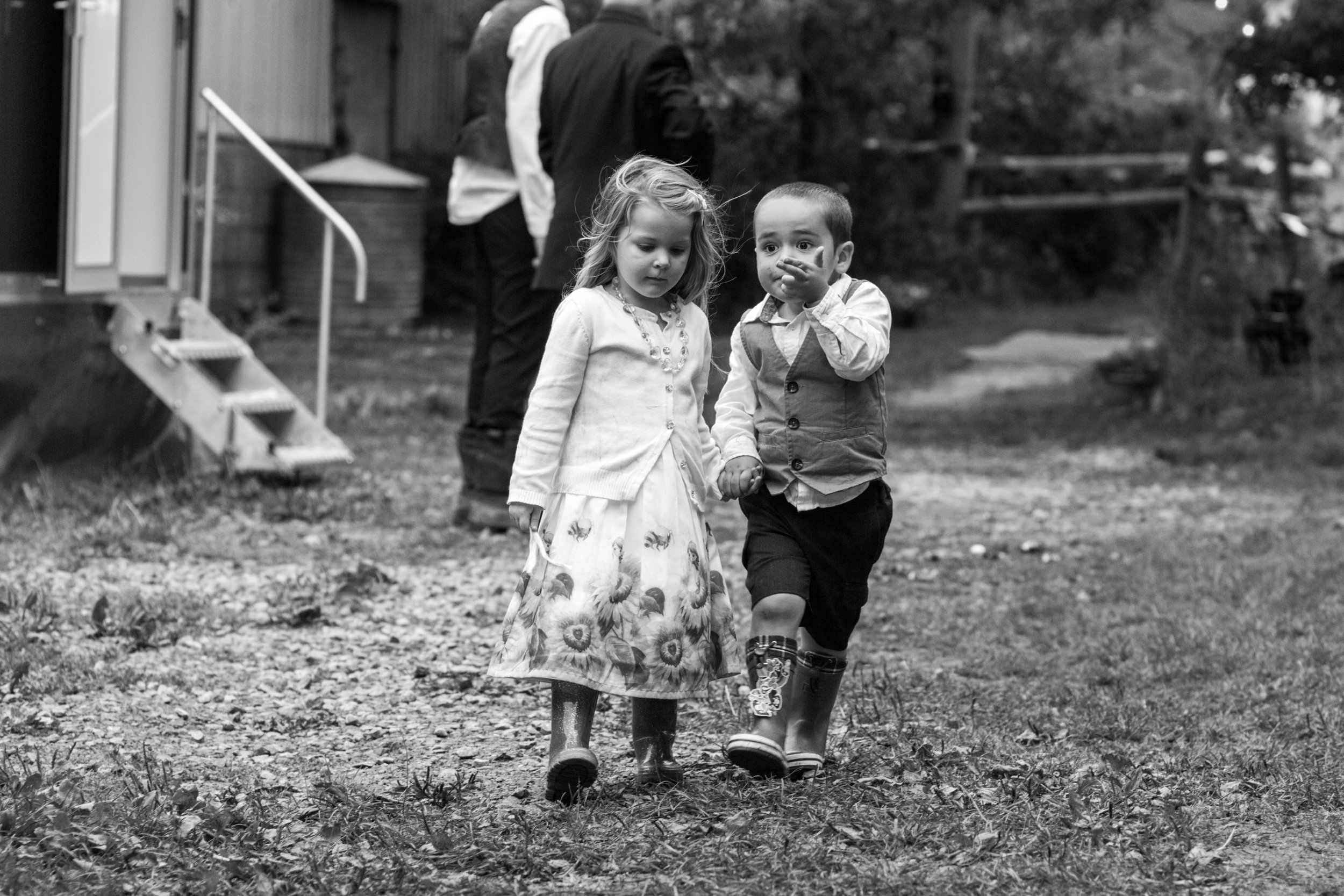 Wedding children, rural UK wedding