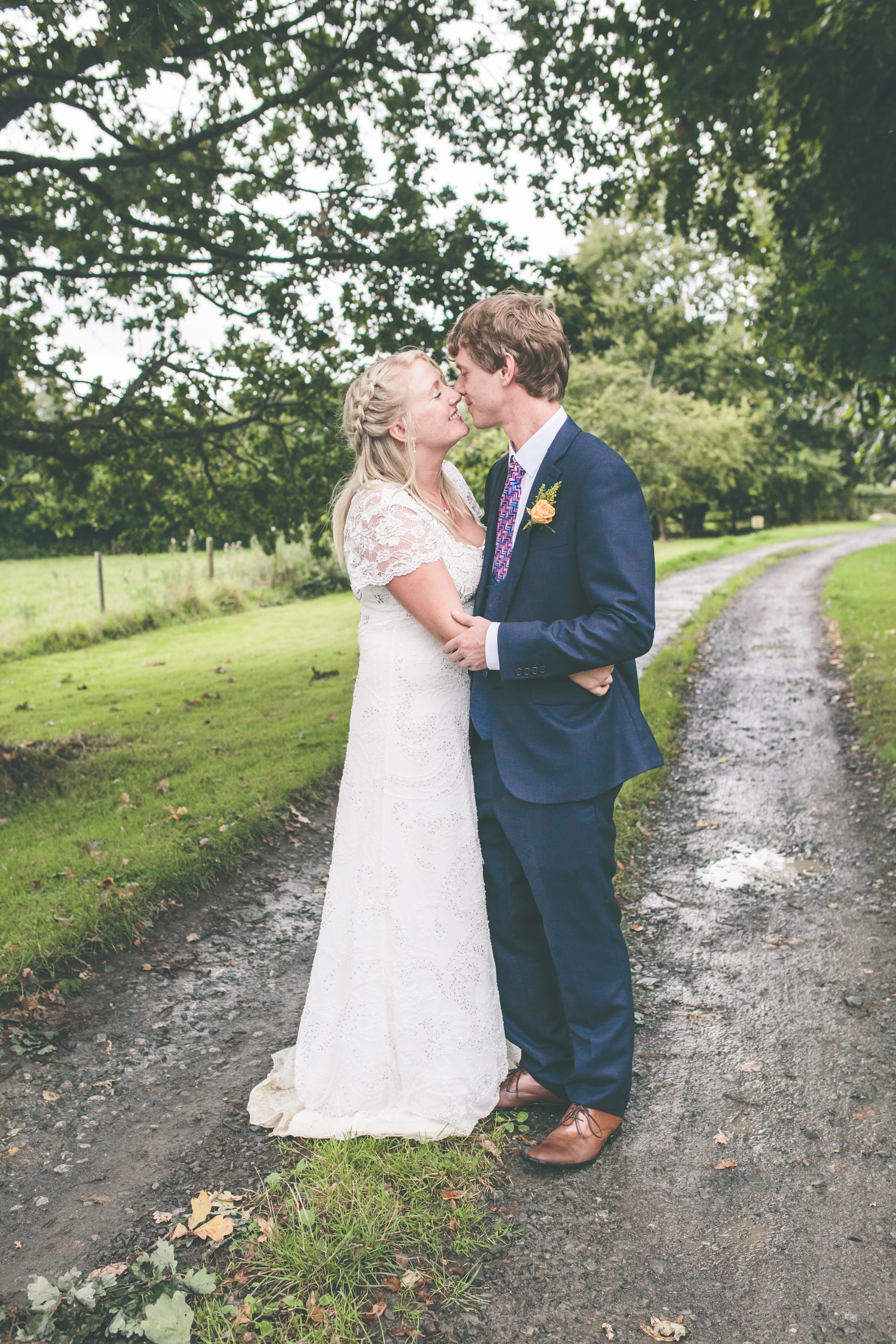 Natural rural wedding portrait
