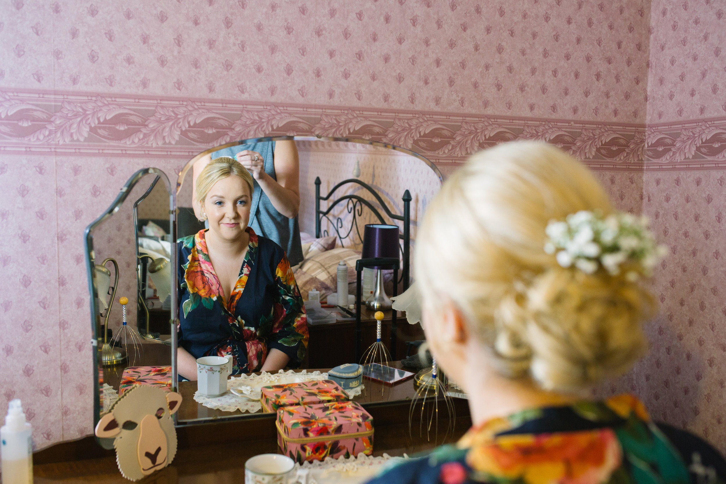 Bridesmaid gets ready Powys country wedding