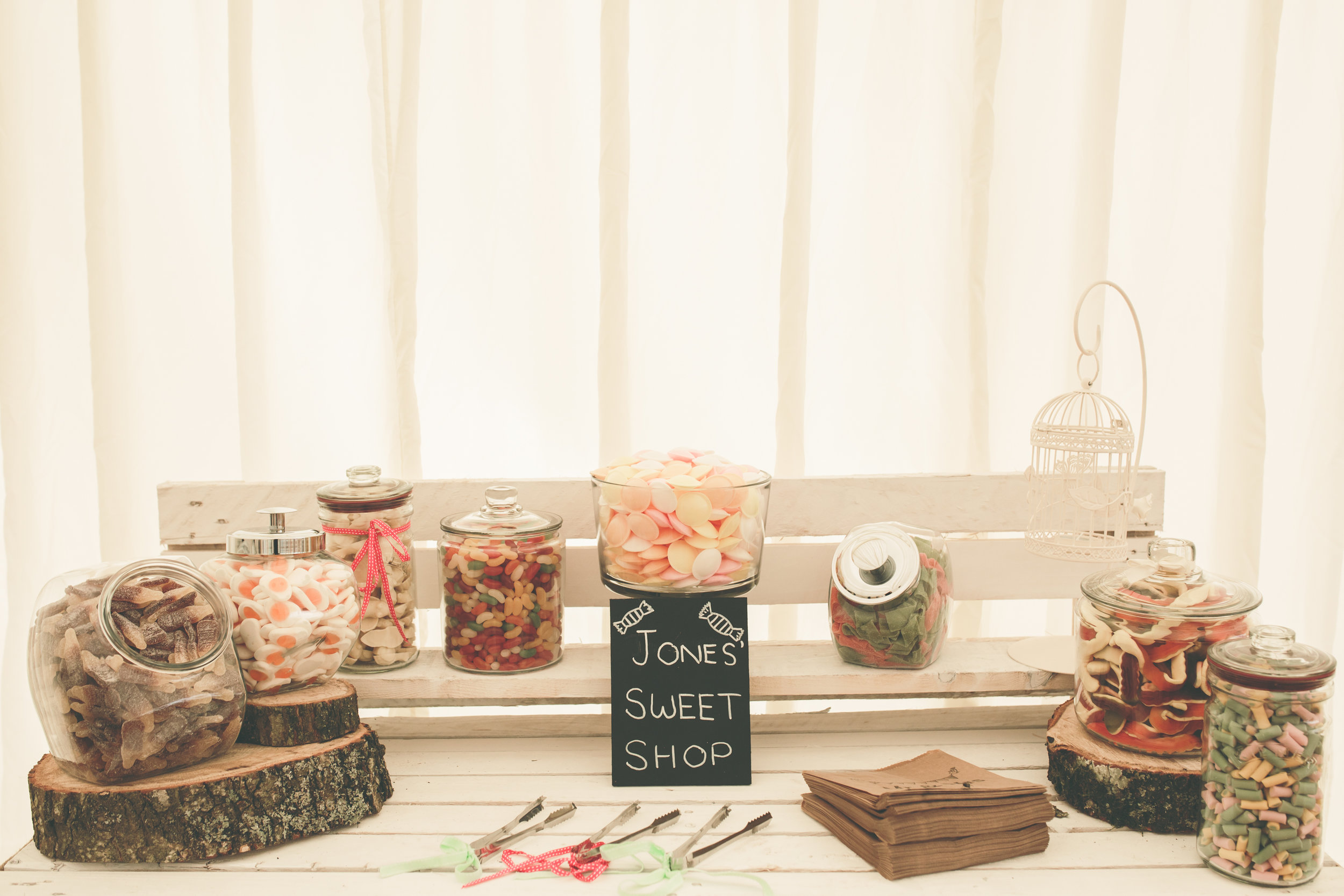 Sweet shop wedding styling, Shabby chic wedding