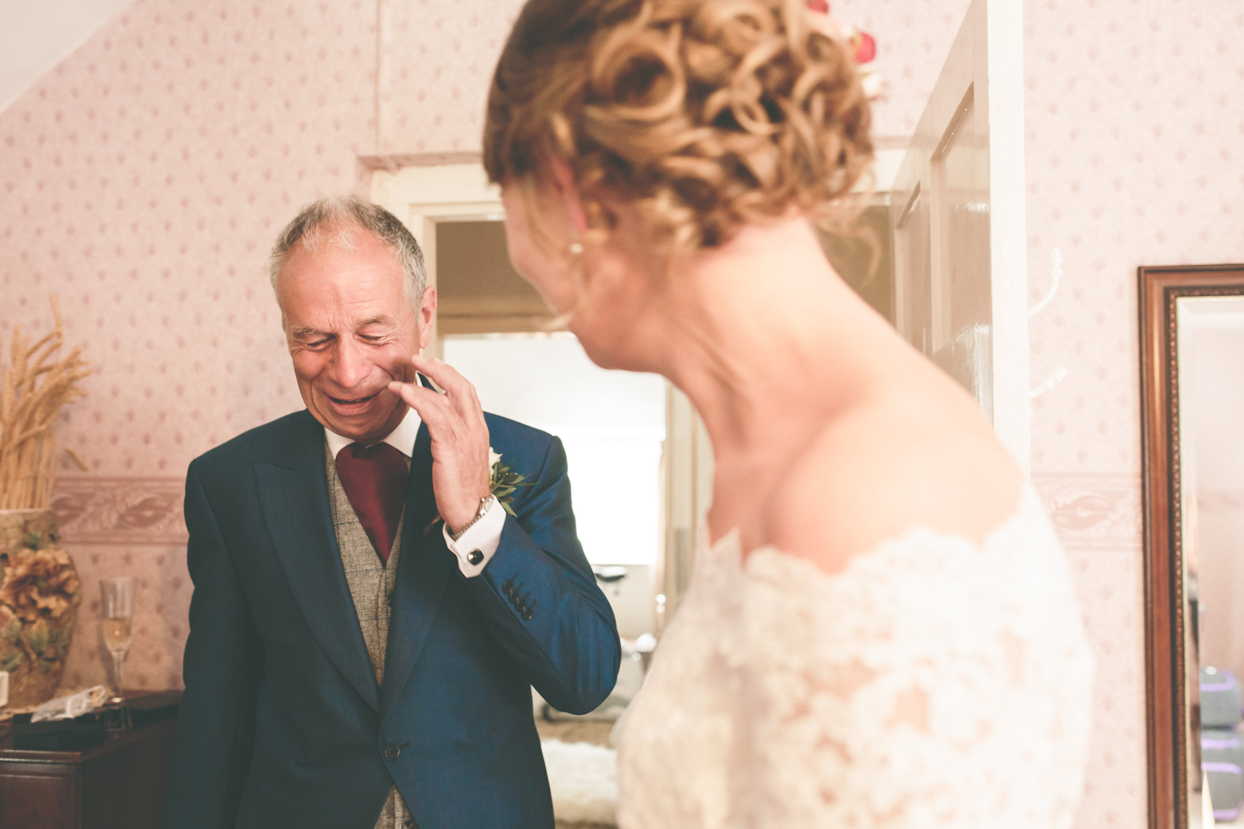 Father of the bride first look, UK documentary wedding photography