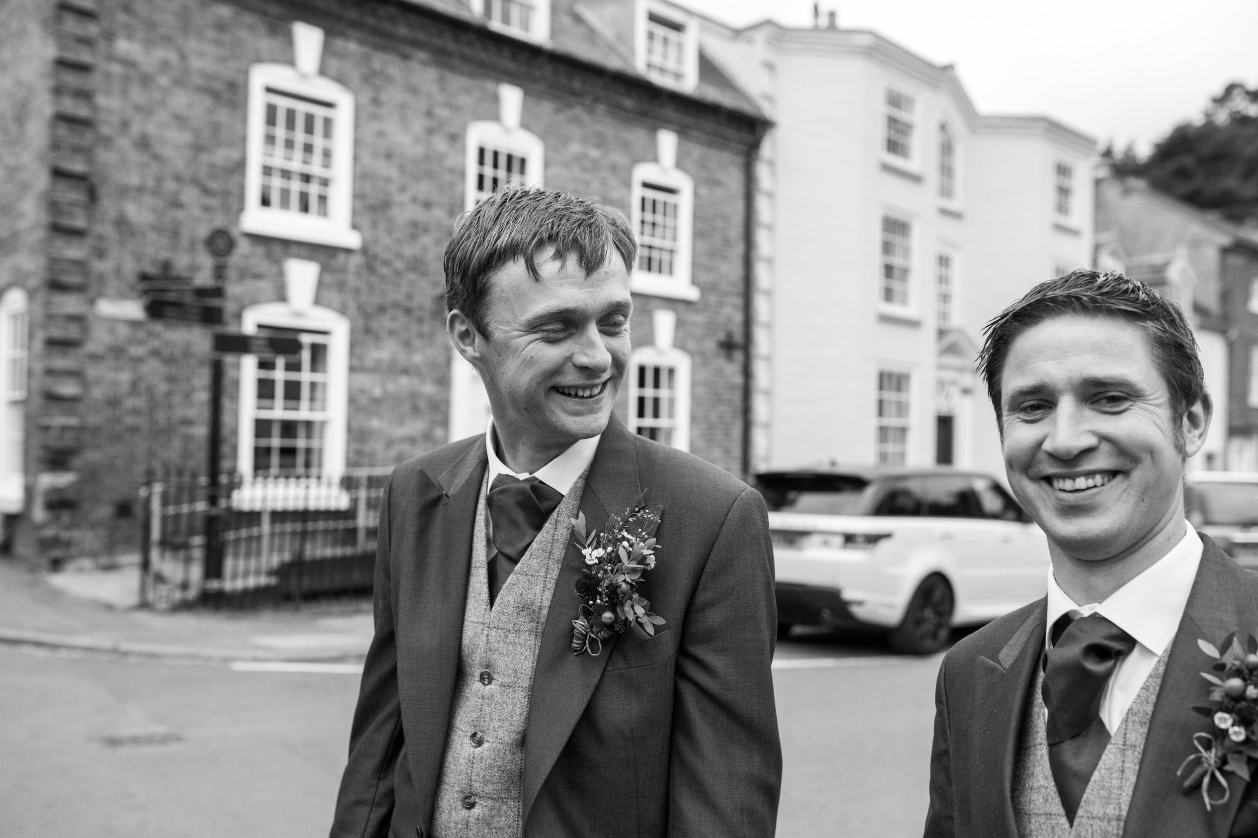 The walk to Montgomery Church, Powys wedding photography