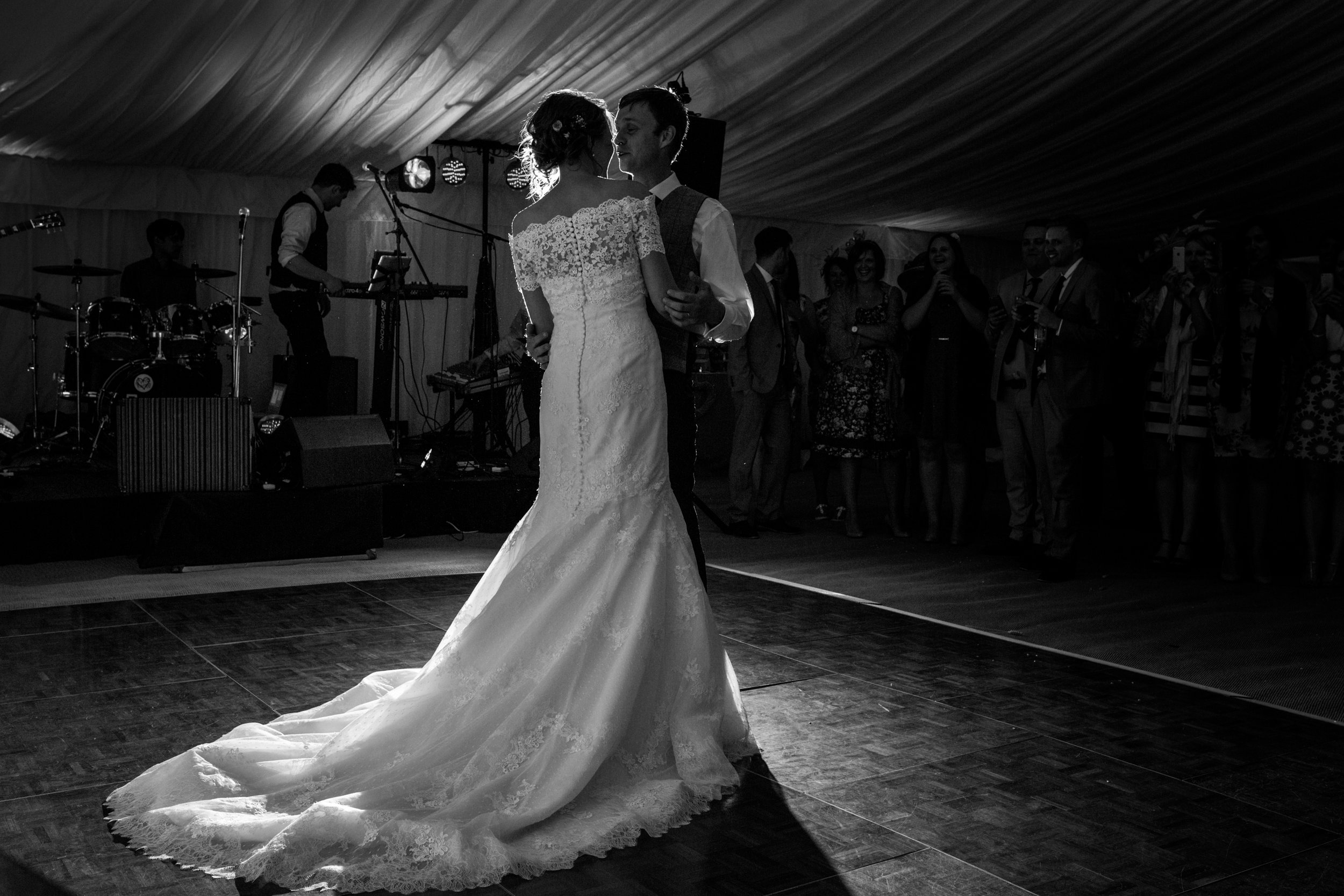 First dance, black and white documentary wedding photography