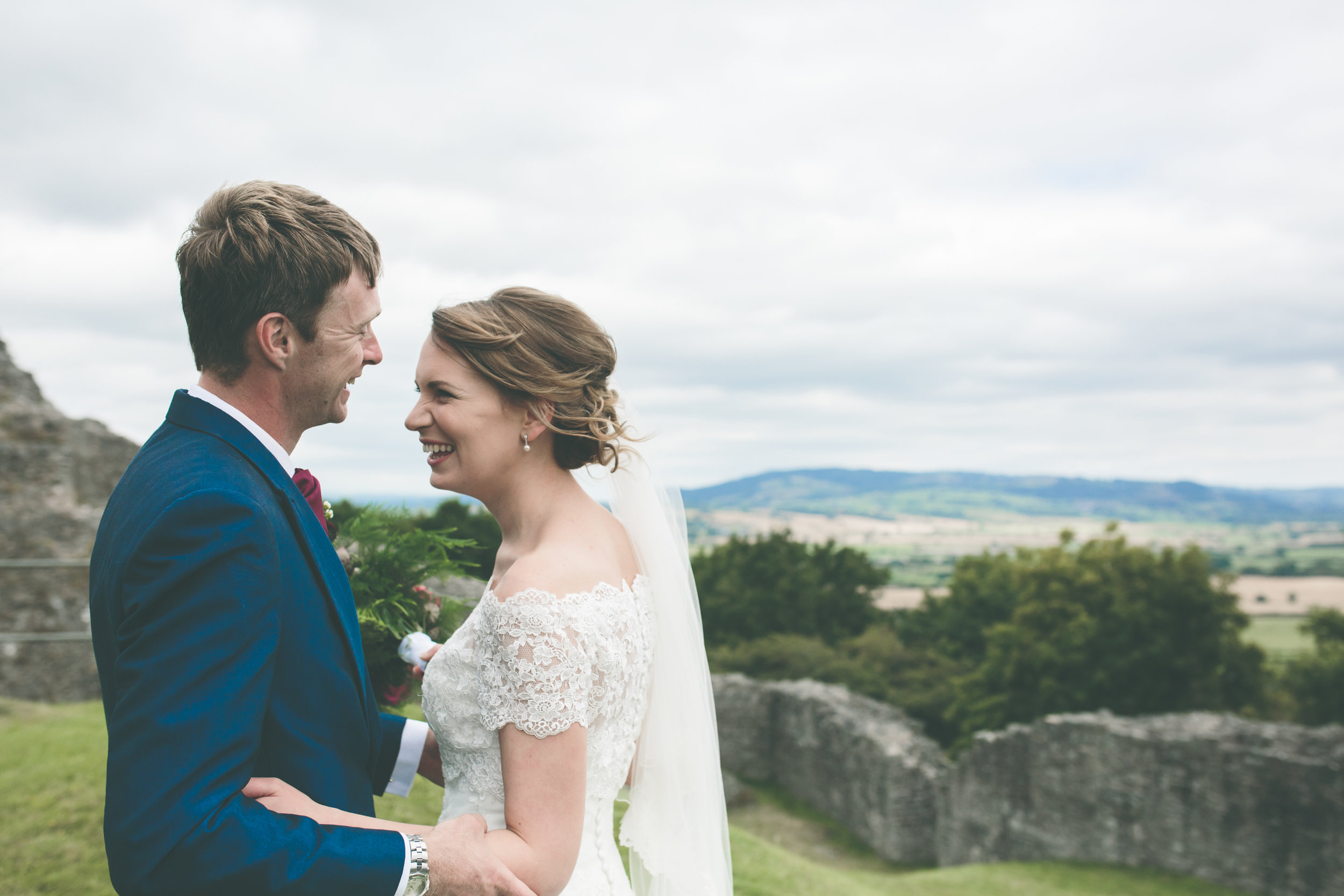 Bride and Groom at Montgomery Castle Church wedding Powys
