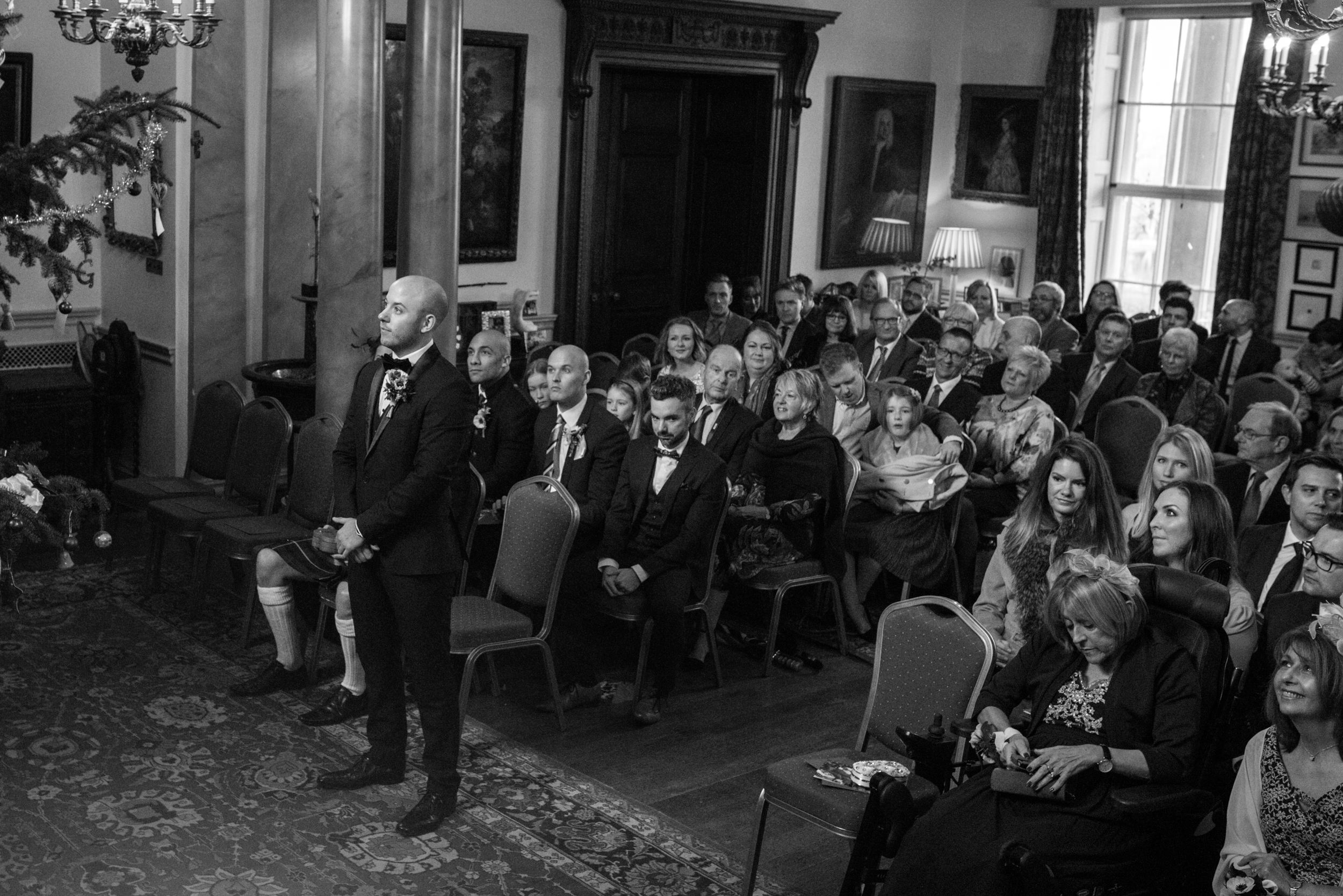 Groom waiting for bride at Walcot Hall