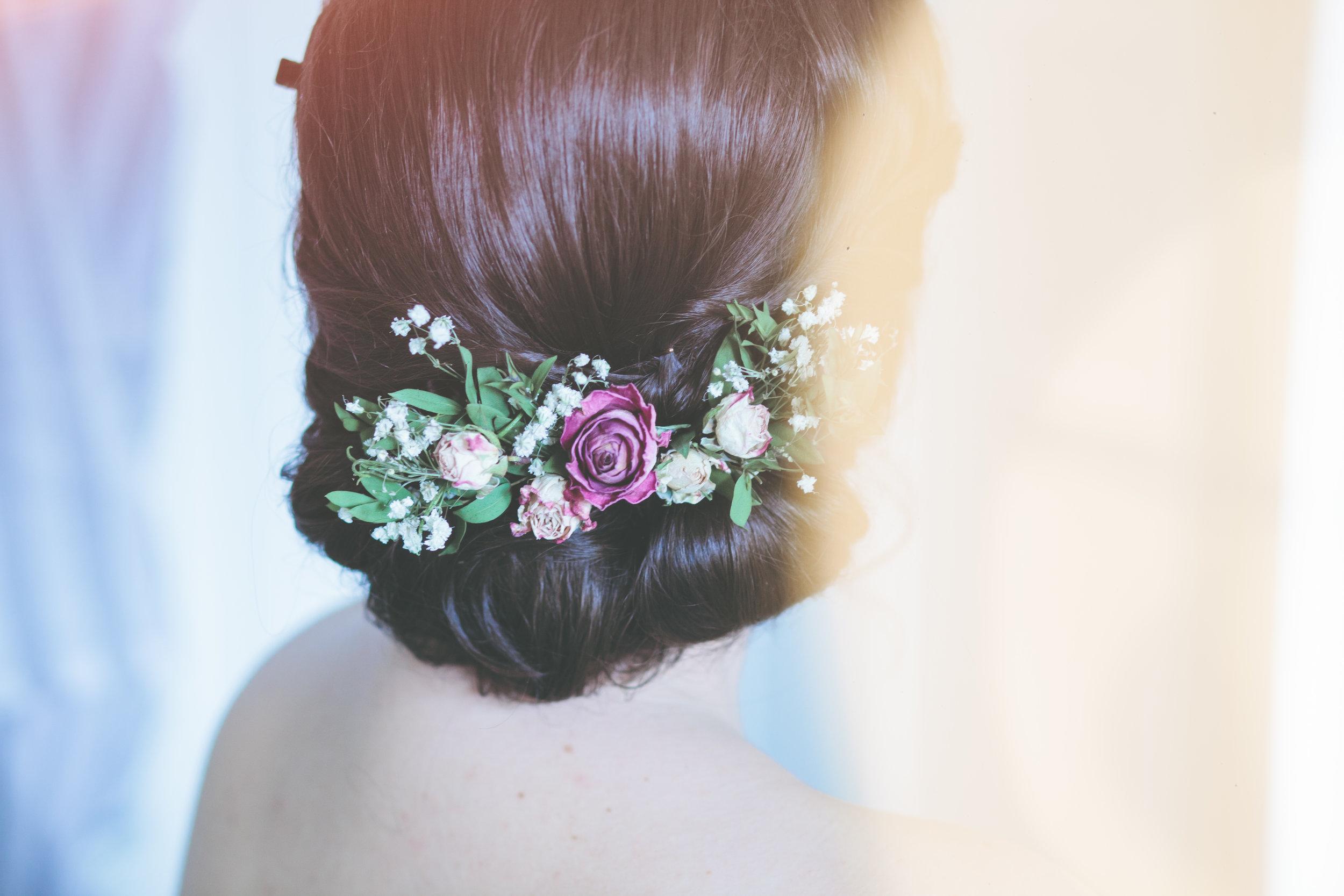 DIY floral headpiece, bridal prep by Olivia Moon Photography