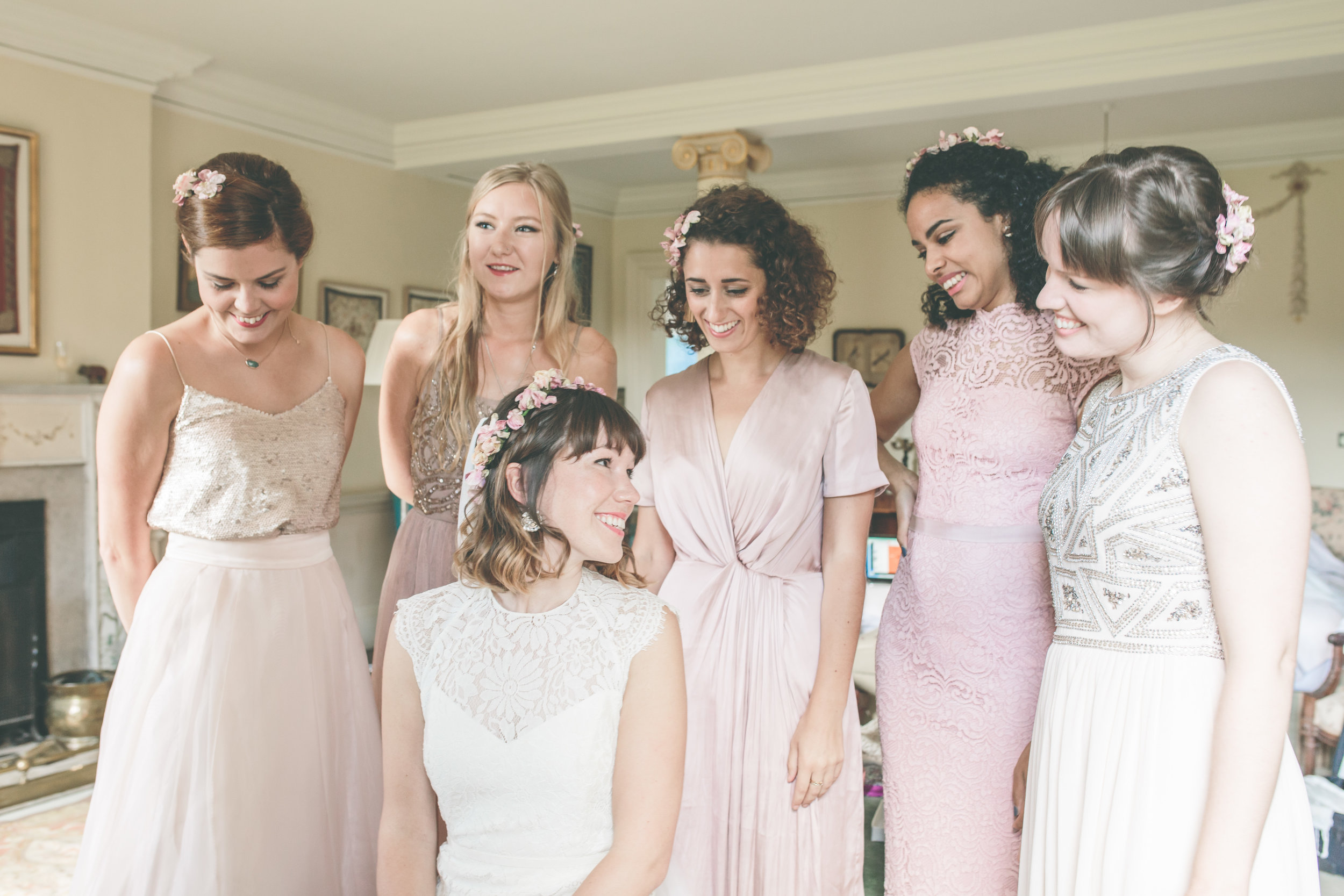 Walcot Hall Wedding Photography - Bride and Bridesmaids