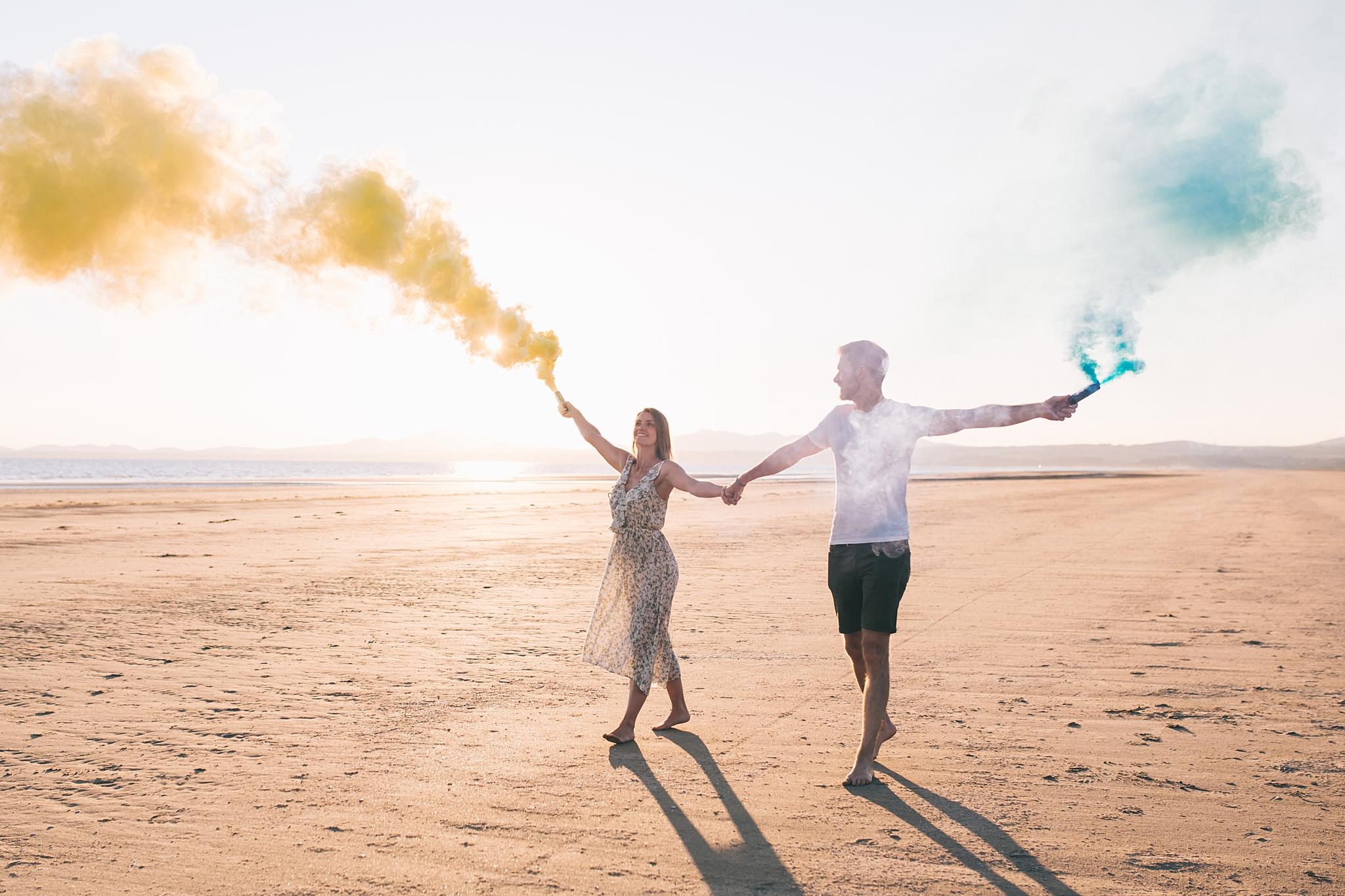 Coloured smoke wedding photography