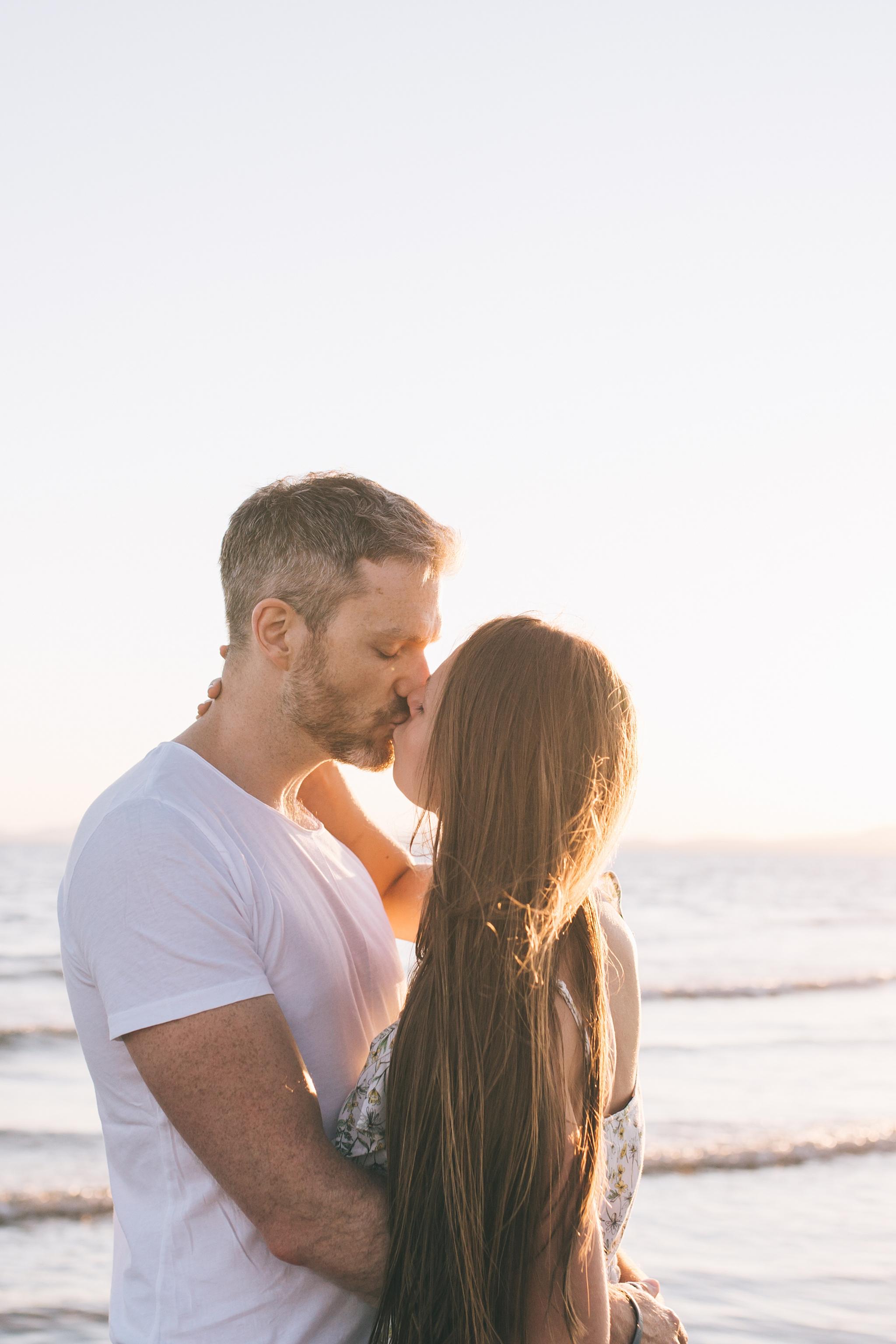 Sunset beach wedding photographer