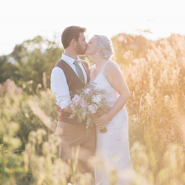 It's a rainy old day in North Cornwall today - I feel a bit thrown by it after so many hazy golden days like this one at Laura and George's beautiful farm wedding ❤ dress by @airebarcelona, suit by @marcdarcysuits.