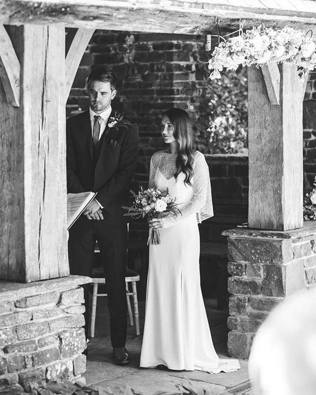Daisy and Charlie during their vows at @rhsrosemoor. Gorgeous dress by @rimearodaky at @themewsbridal #themewsbrides