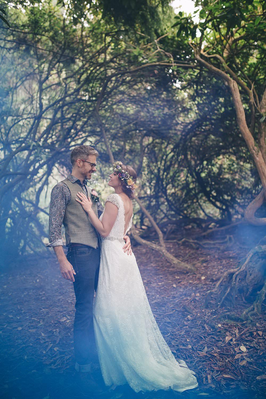 Cornwall wedding photographer Smoke Bomb