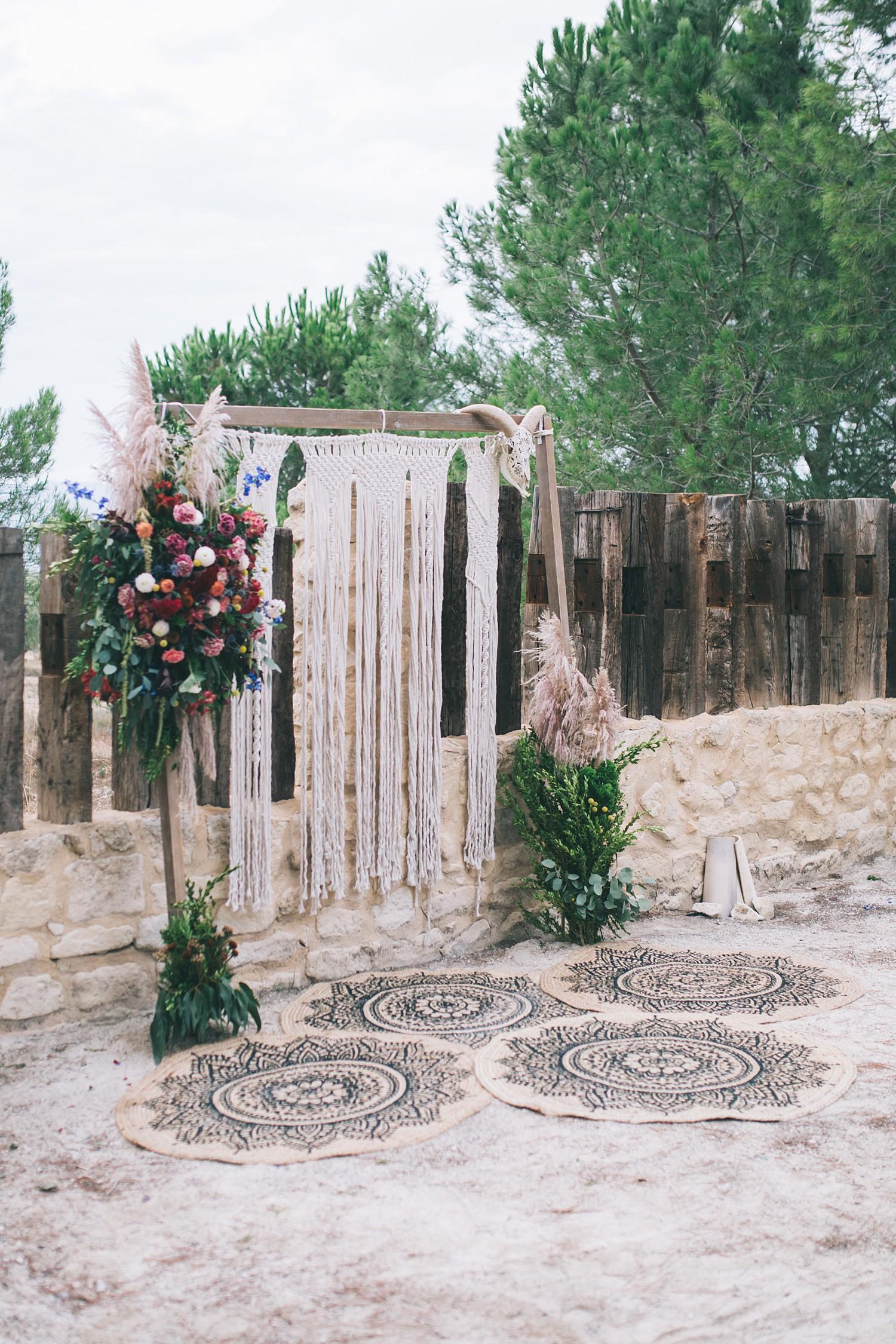Macrame wedding backdrop destination wedding photography Spain