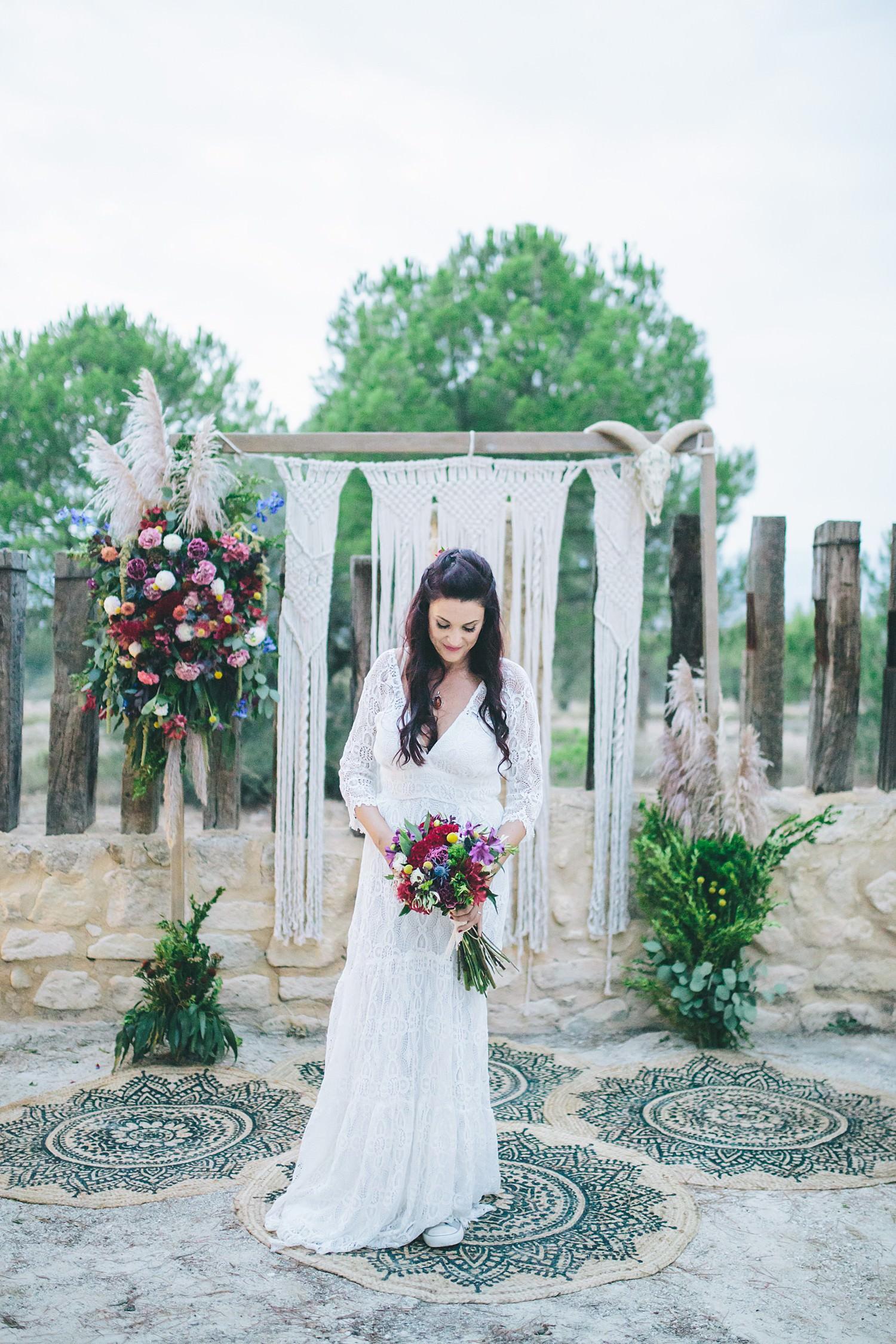 Boho bride macrame wedding backdrop destination wedding photographer