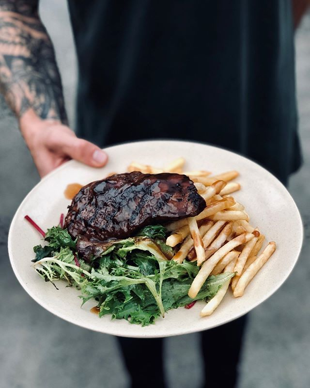 WEDNESDAY(🥩 + 🍷) = $20 . Say Hi to the Hood Wednesday and come over for the Steak Night! We've got a 250g Black Angus Rump with side salad, fries & gravy AND a glass of house red all for just $20! How good is that? 🤤 . . See you tonight at 5pm Steak lovers!😍 . #bondi #dinner #cocktailbar #steak #steaknight  #bondibeach  #sydney #thisisourhood 💛