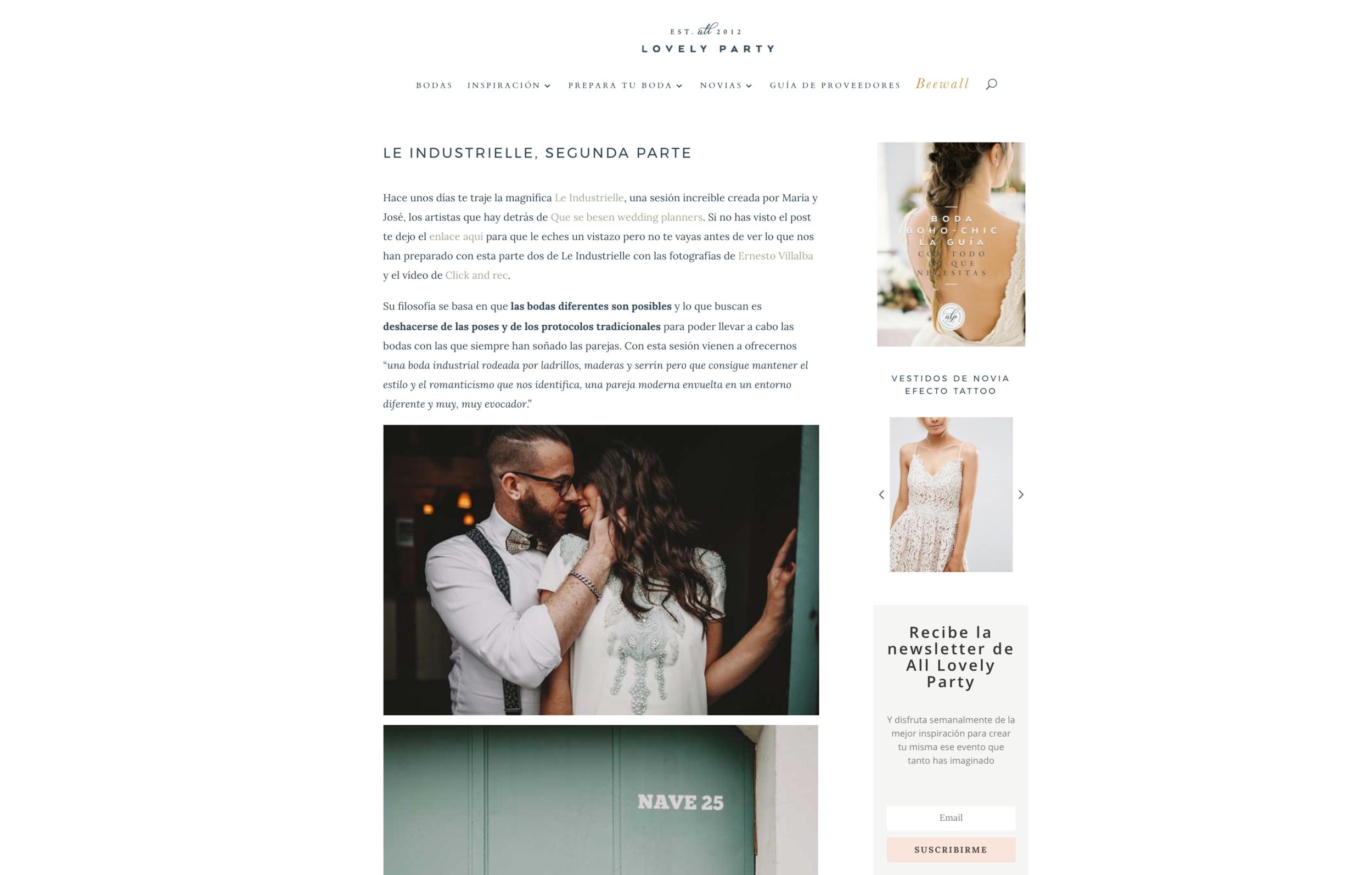 All Lovely Party   Segunda parte de la sesión editorial Le Industriele, una boda en una carpintería fue publicada por este blog imprescindible de inspiración.