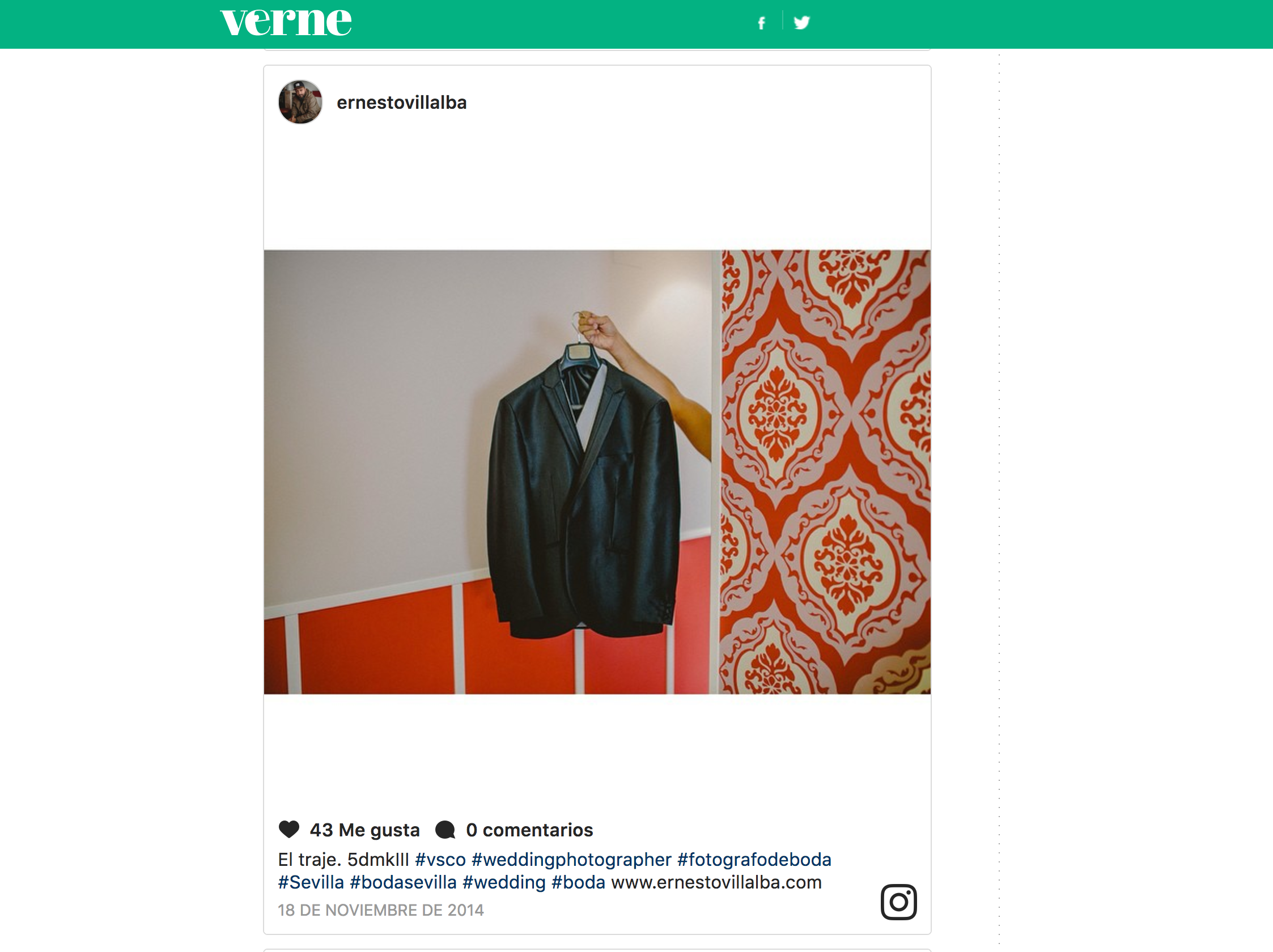"""Verne, El Pais   Seleccionaros mi cuenta de instagram para el artículo: """"100 cuentas de instagram que no debes perderte""""."""