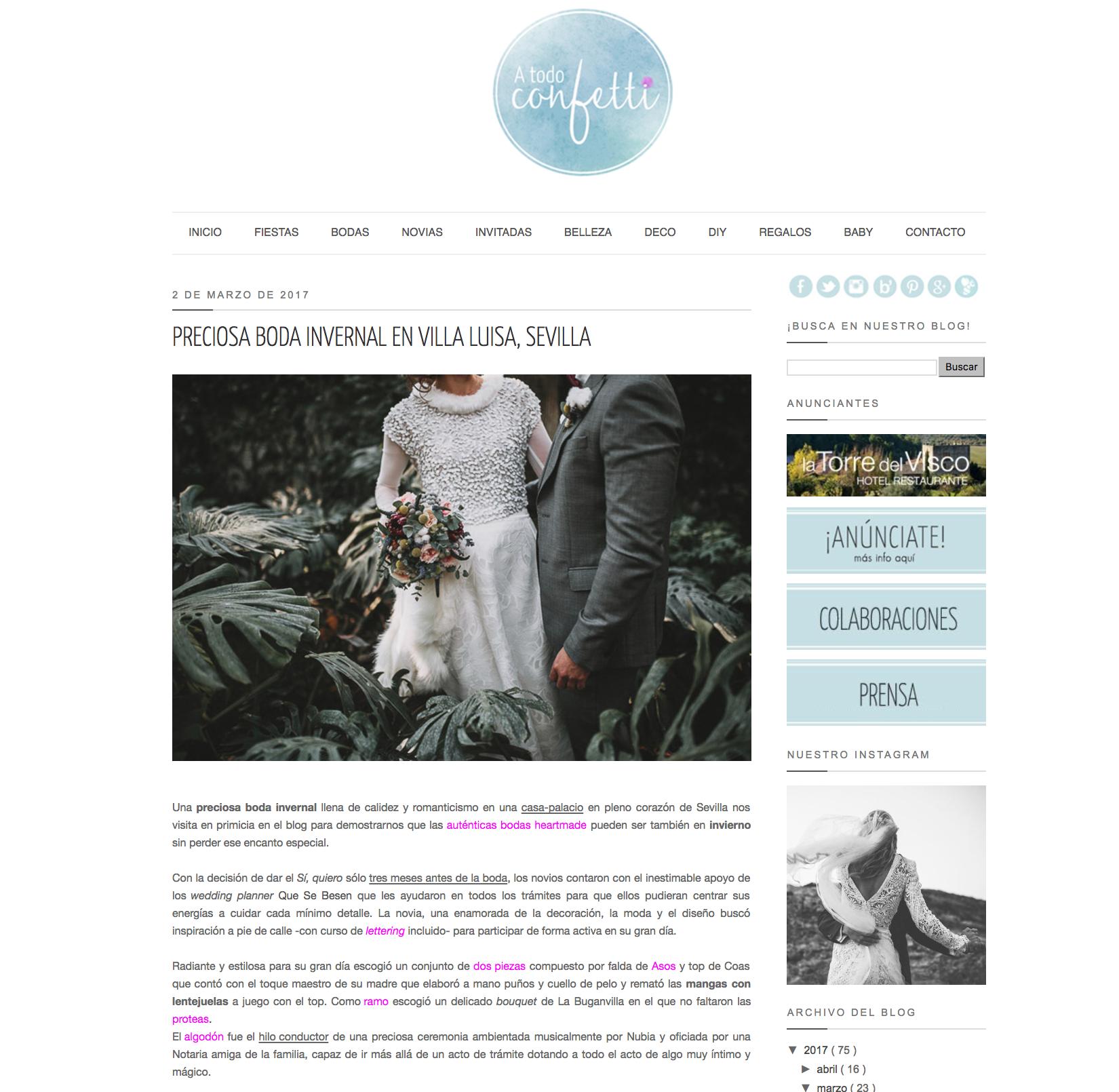 A Todo Confetti   La preciosa boda de invierno en Villa Luisa en el blog de referencia A Todo Confetti.