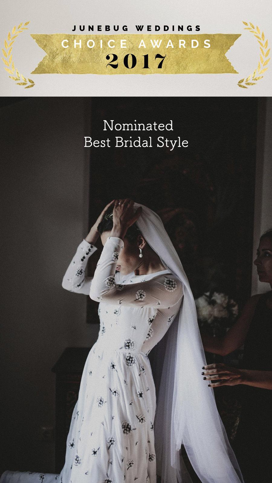 """Junebugweddings   Muy contento de estar nominado en el """"Top 5"""" por el blog internacional https://junebugweddings.com/ con la boda de Mercedes y Álvaro como """"Best Bridal Style""""."""
