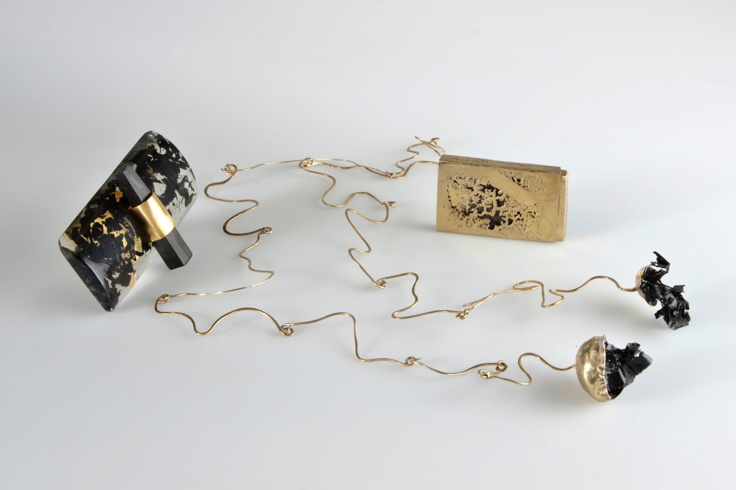 MIHAELA COMAN,  Calligraphy Ring, Letters Necklace, Sumi Stick Box