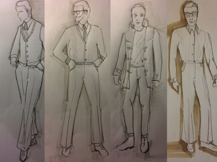 "B2, Salter, B1 and Michael Black - costume designs for ""A Number""."