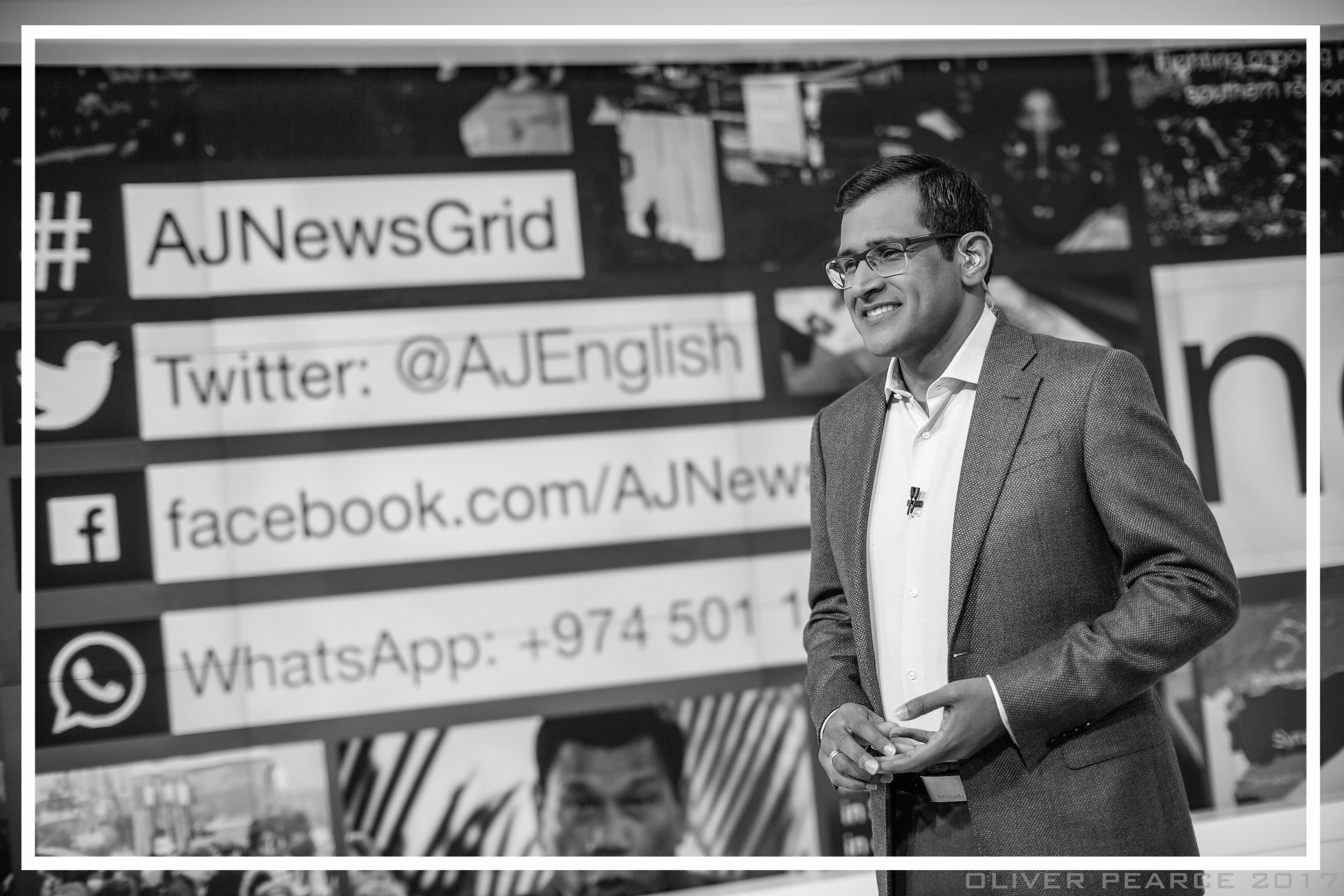Presenting  newsgrid  from Studio 14 at Al Jazeera (Doha, 2017)