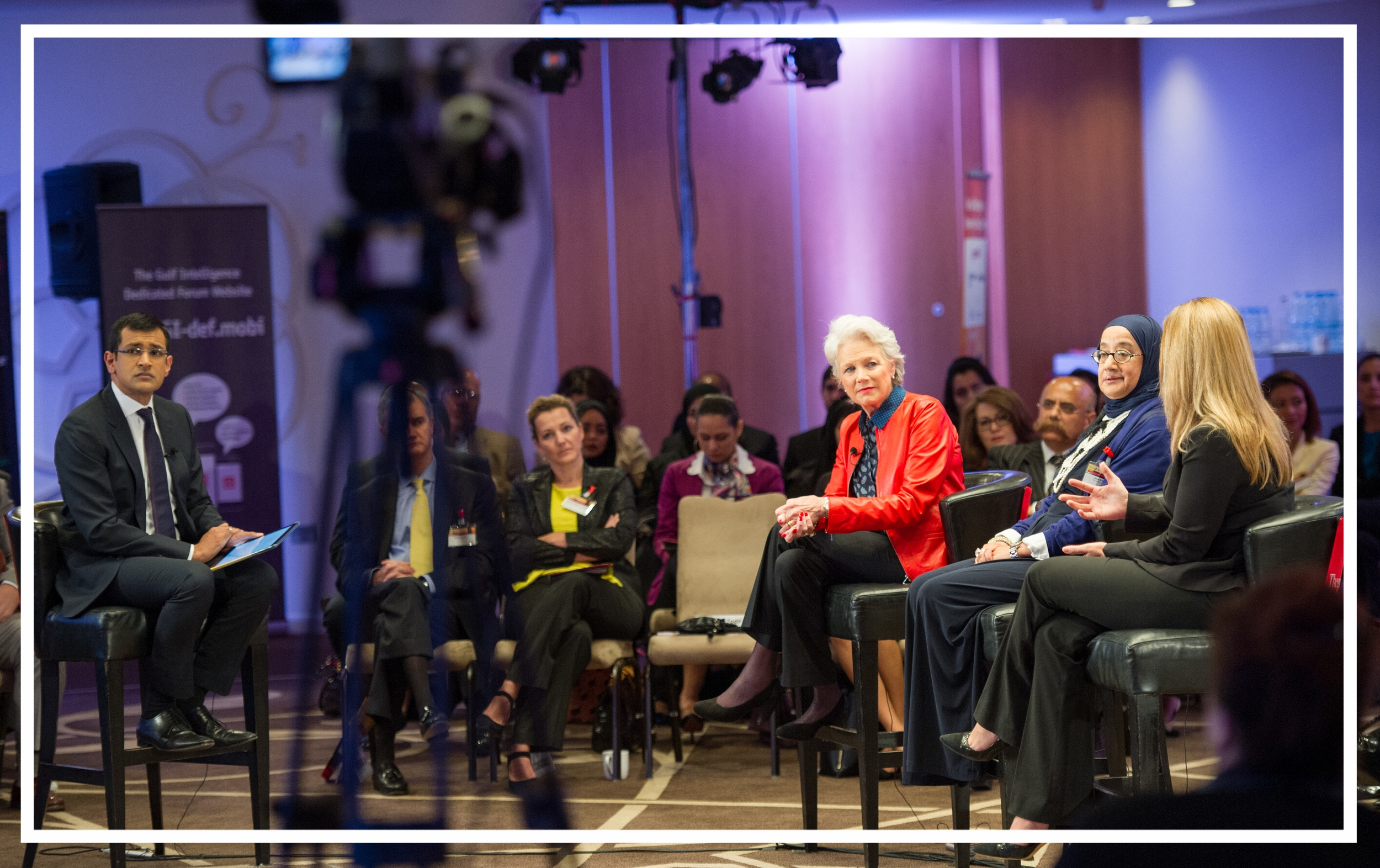 Moderating a televised panel discussion for  Counting the Cost  at the Women in Energy Summit (Doha, 2015)