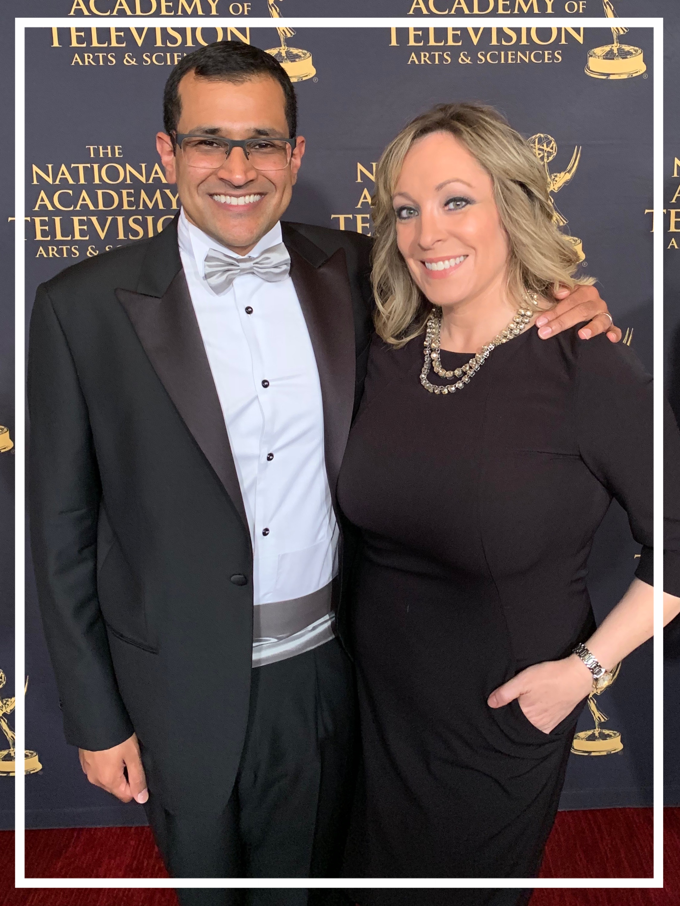 With Al Jazeera's White House correspondent Kimberly Halkett, at the 2018 News & Documentary Emmy Awards (New York, 2018)