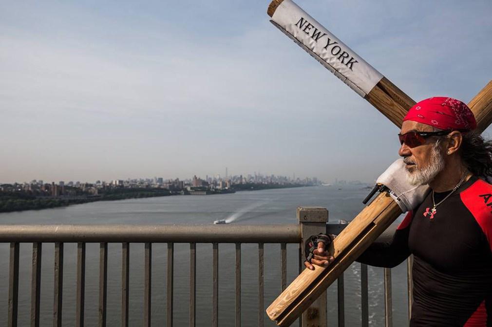 Arthur Hollands heads towards Manhattan across the George Washington Bridge (Credit: Toyo Kawai )