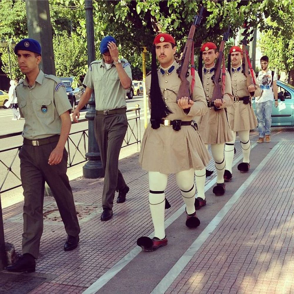 Changing of the Greek Palace Guards in front of the Parliament Building in Athens (Credit:  Paul Glader )