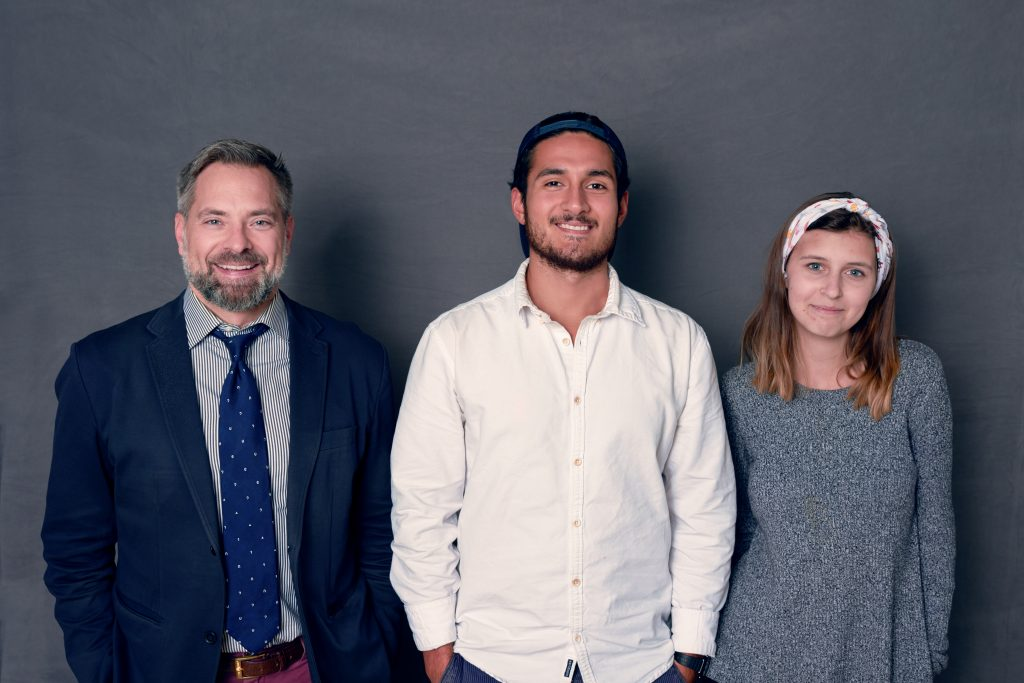 L-R: Prof. Paul Glader, associate professor of journalism and director of the McCandlish Phillips Journalism Institute; Wes Parnell (PPE '19); Bernadette Berdychowski (JCS '19). ma