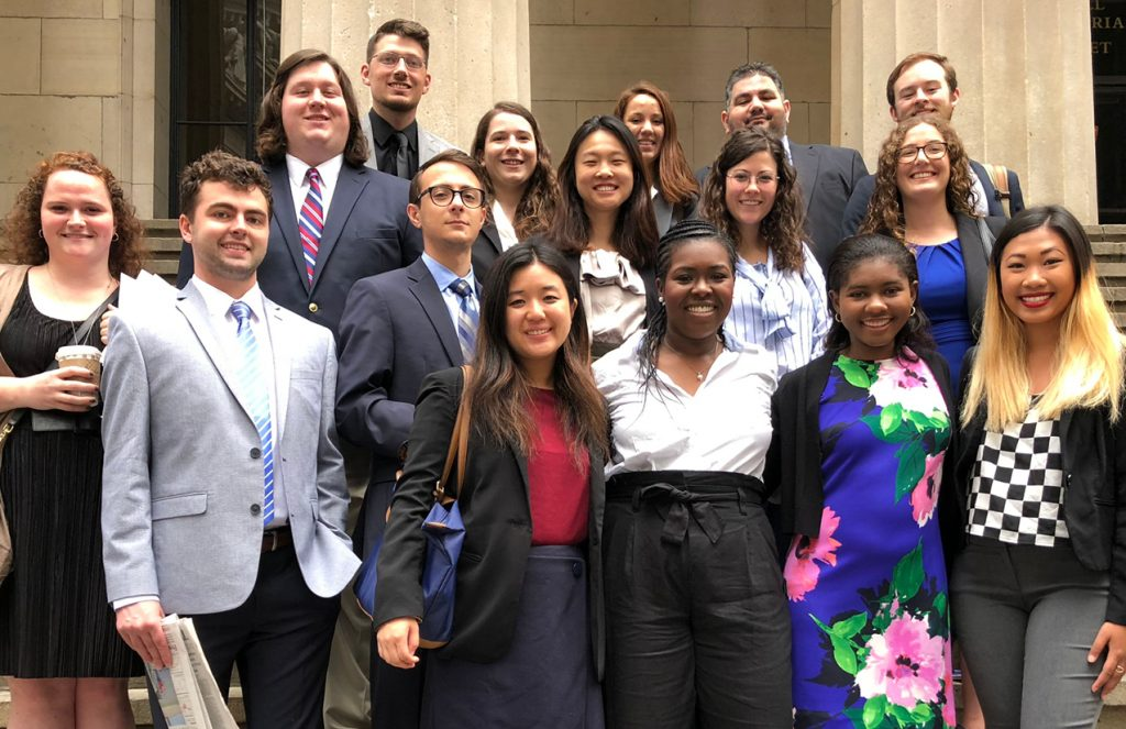 2018 Dow Jones New Fund business reporting interns. Photo courtesy Paul Glader.