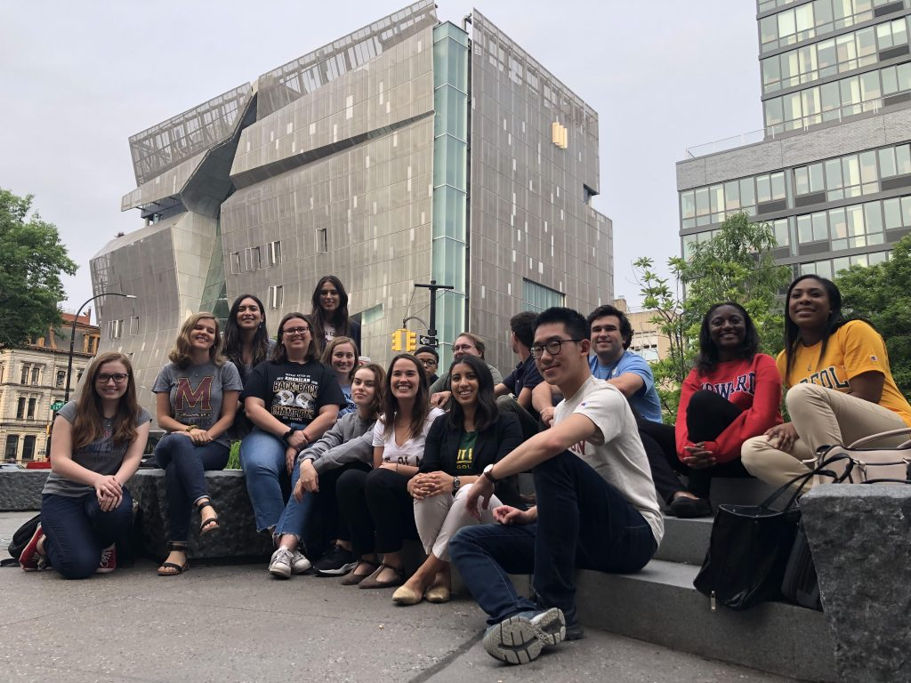 2019 DJNF business reporting interns from around the country spend a training week in NYC before their internships. Photo courtesy Paul Glader.
