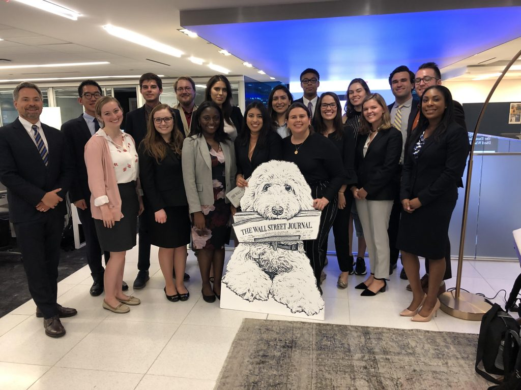 Paul Glader and 2019 DJNF business reporting interns on a visit to The Wall Street Journal, where they spent a morning learning from top editors and writers. Photo courtesy Paul Glader.