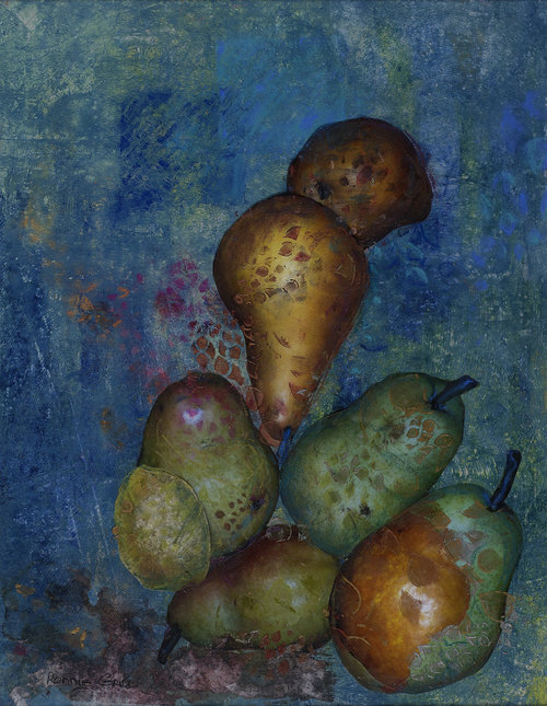 Pears+on+Aqua+Mixed+media+17+x+20.5.jpg