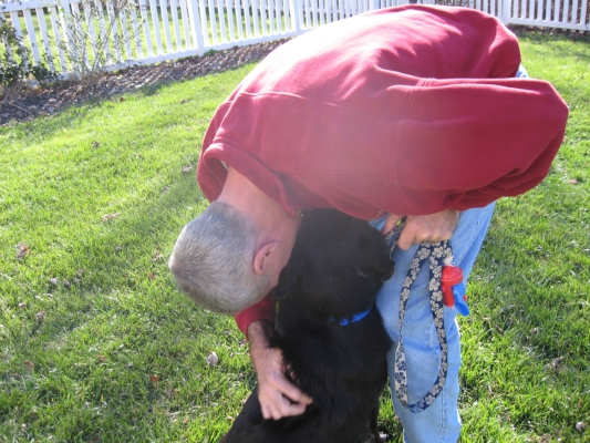 Buddy looking for comfort and reassurance from Don. He spent every day of the rest of his life being loved.