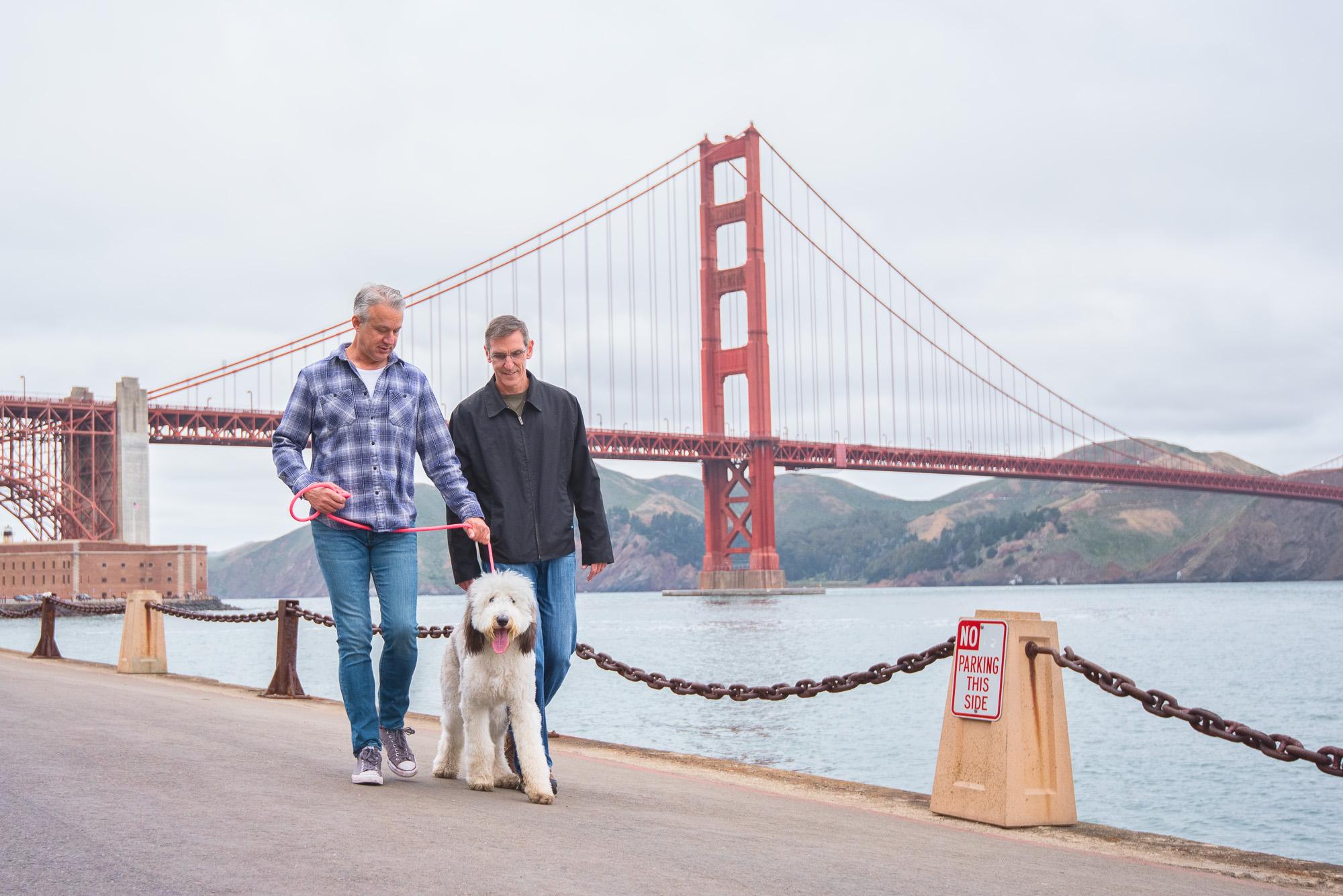 gay couple dog Golden Gate Bridge San Francisco