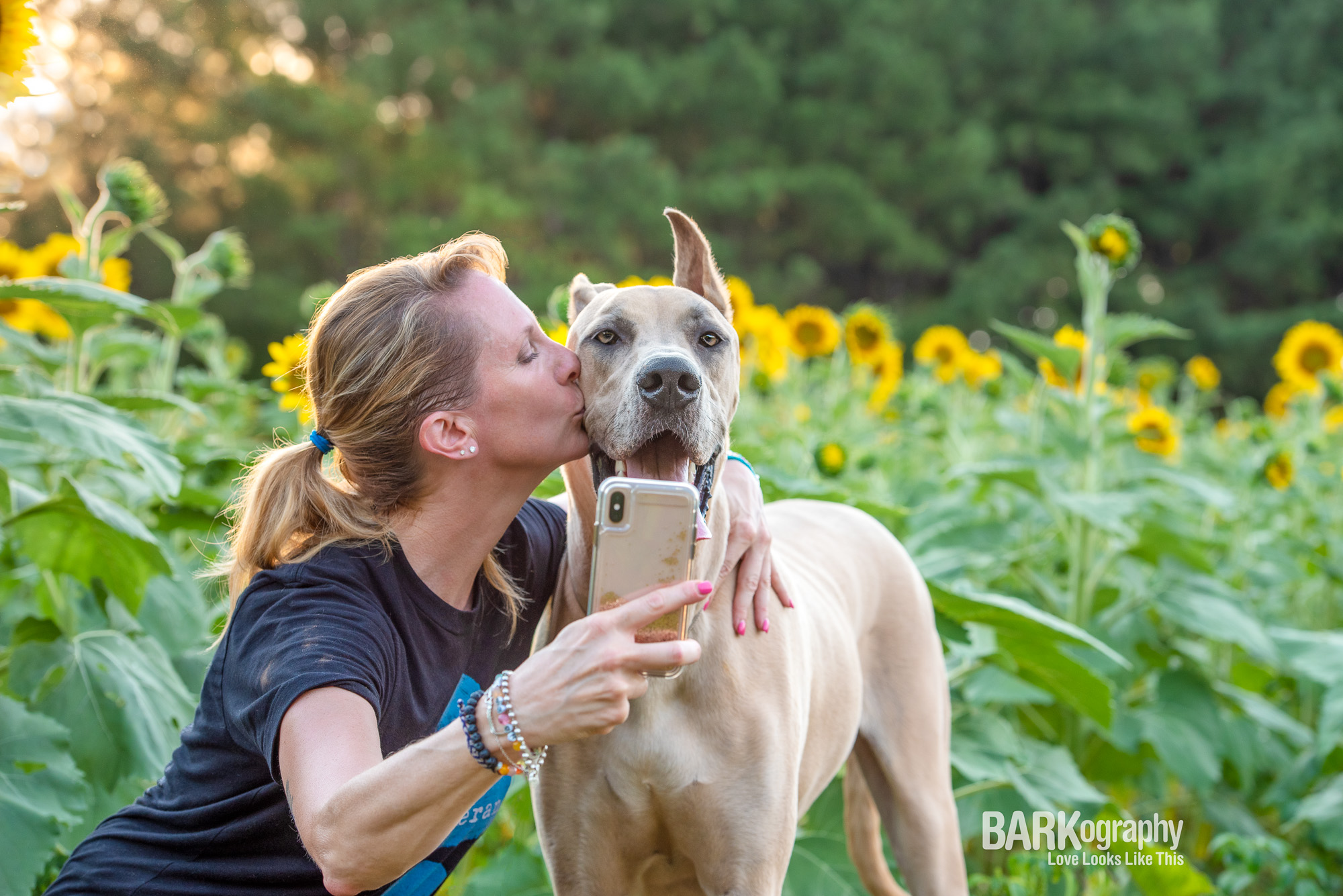 dog mom taking iphone selfie with great dane